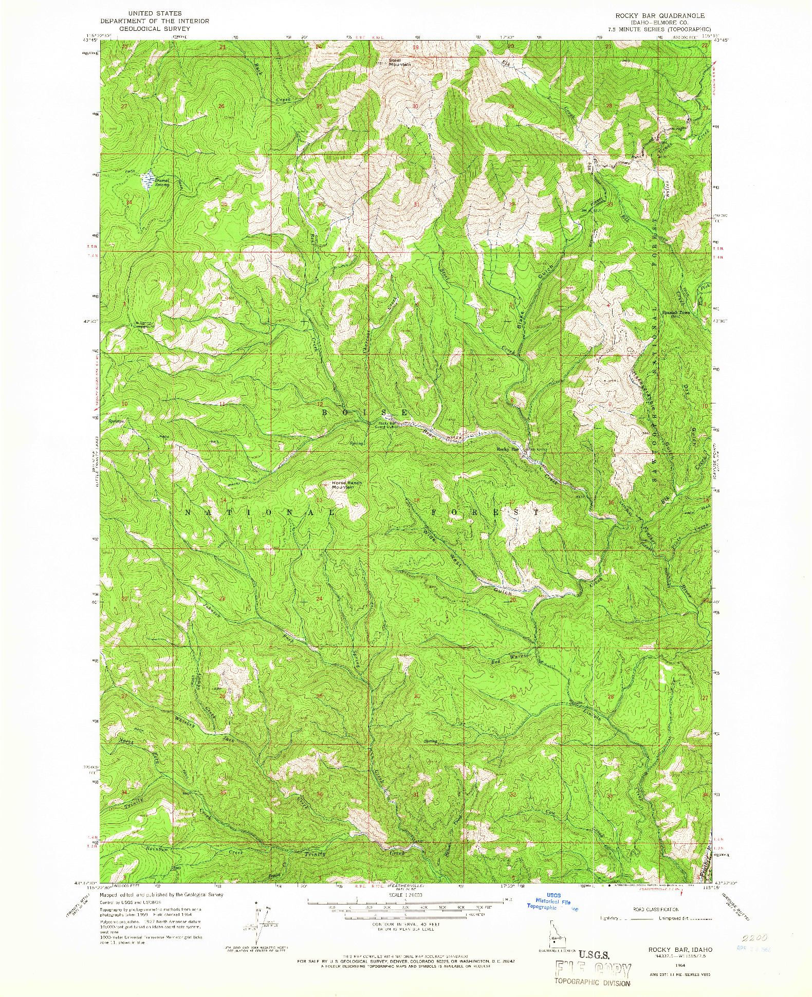 USGS 1:24000-SCALE QUADRANGLE FOR ROCKY BAR, ID 1964