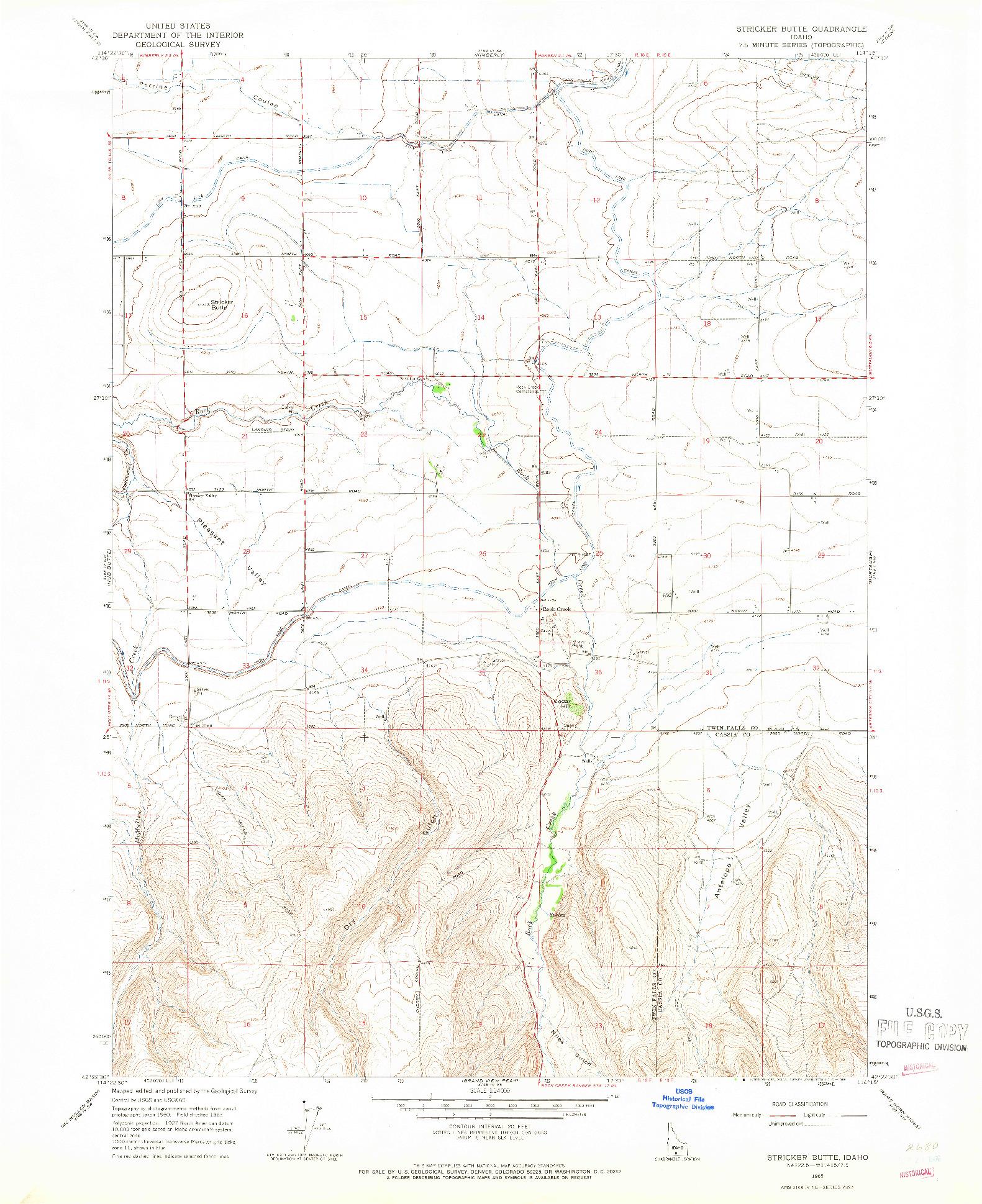 USGS 1:24000-SCALE QUADRANGLE FOR STRICKER BUTTE, ID 1965