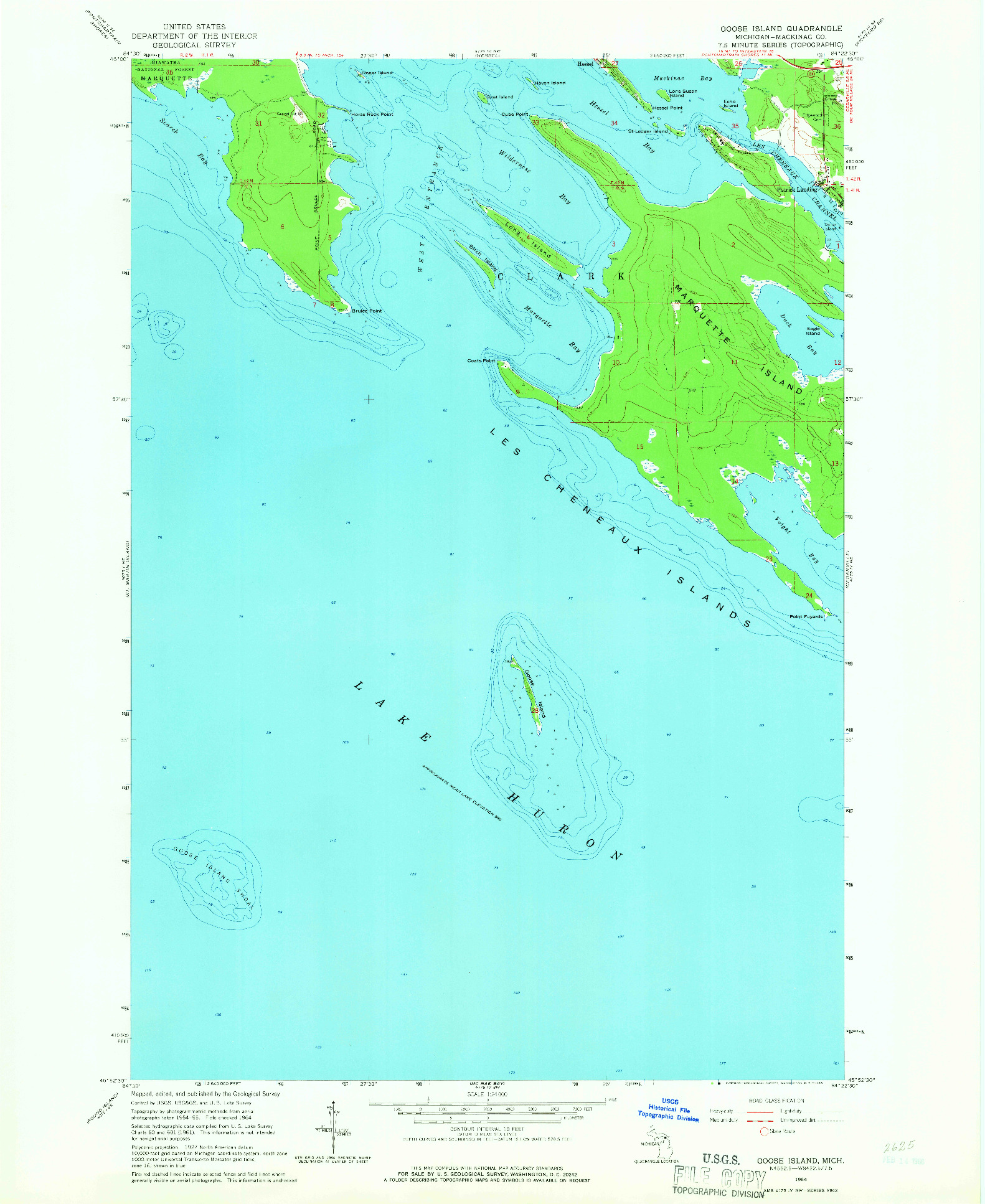 USGS 1:24000-SCALE QUADRANGLE FOR GOOSE ISLAND, MI 1964