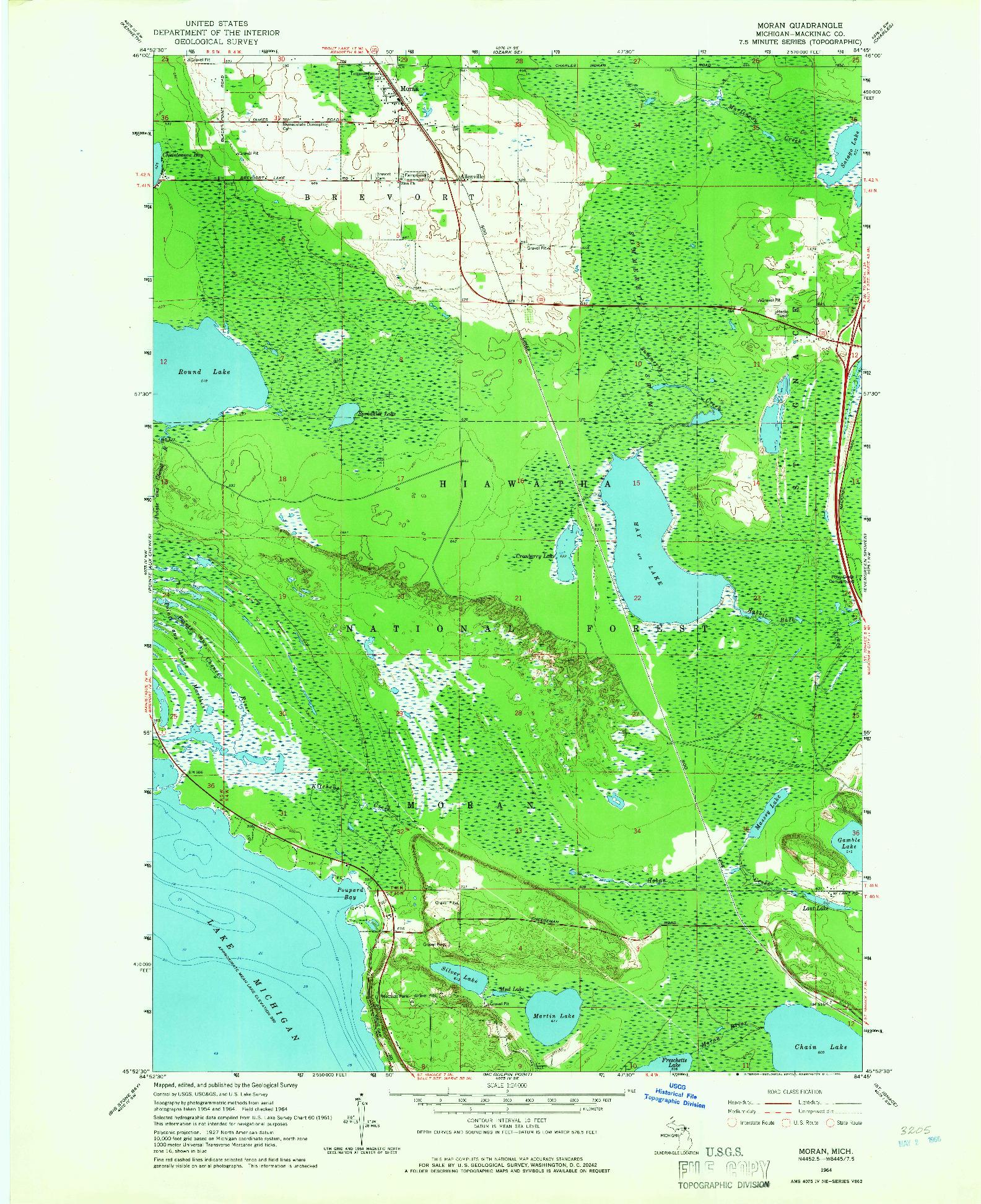 USGS 1:24000-SCALE QUADRANGLE FOR MORAN, MI 1964