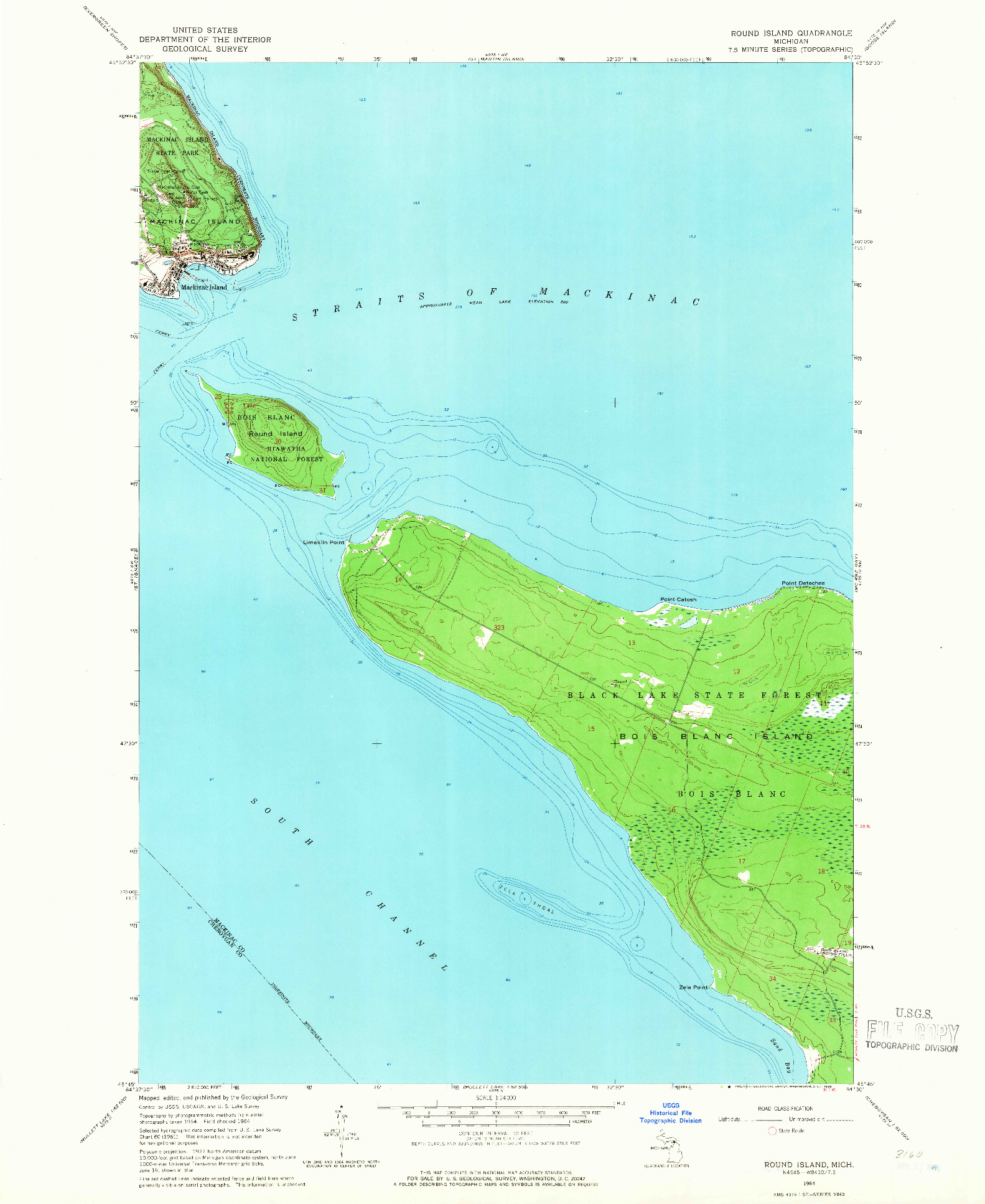 USGS 1:24000-SCALE QUADRANGLE FOR ROUND ISLAND, MI 1964