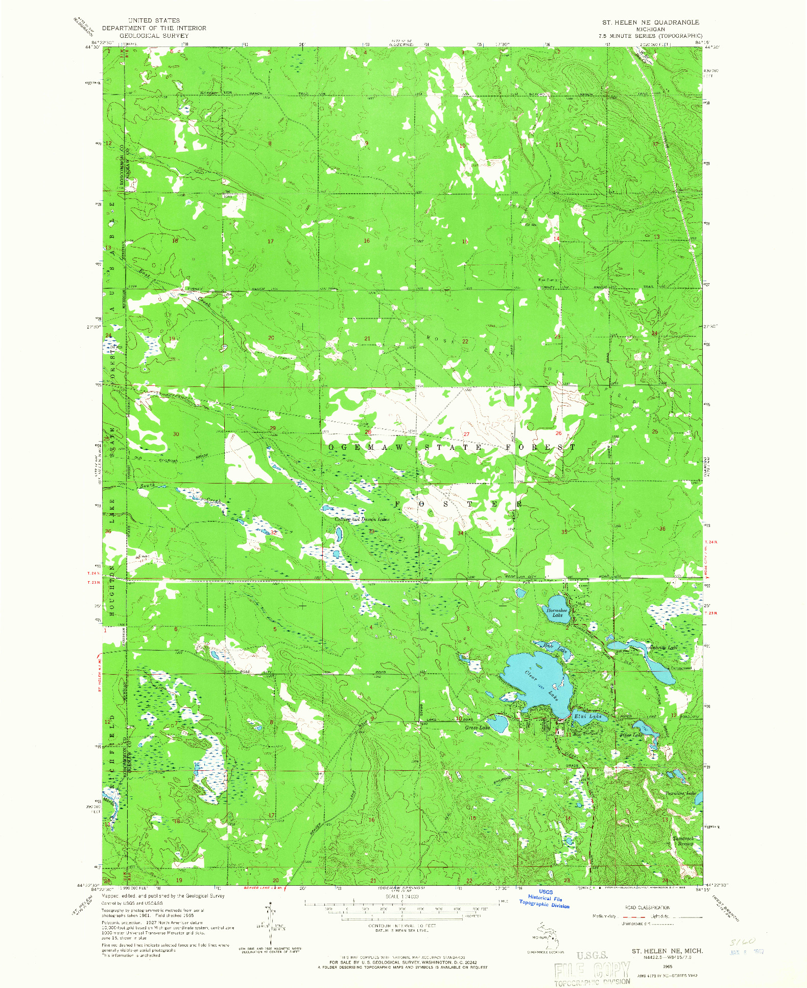 USGS 1:24000-SCALE QUADRANGLE FOR ST. HELEN NE, MI 1965