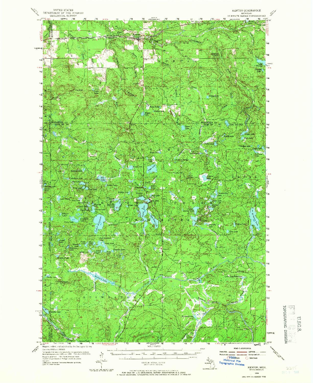 USGS 1:62500-SCALE QUADRANGLE FOR KENTON, MI 1954