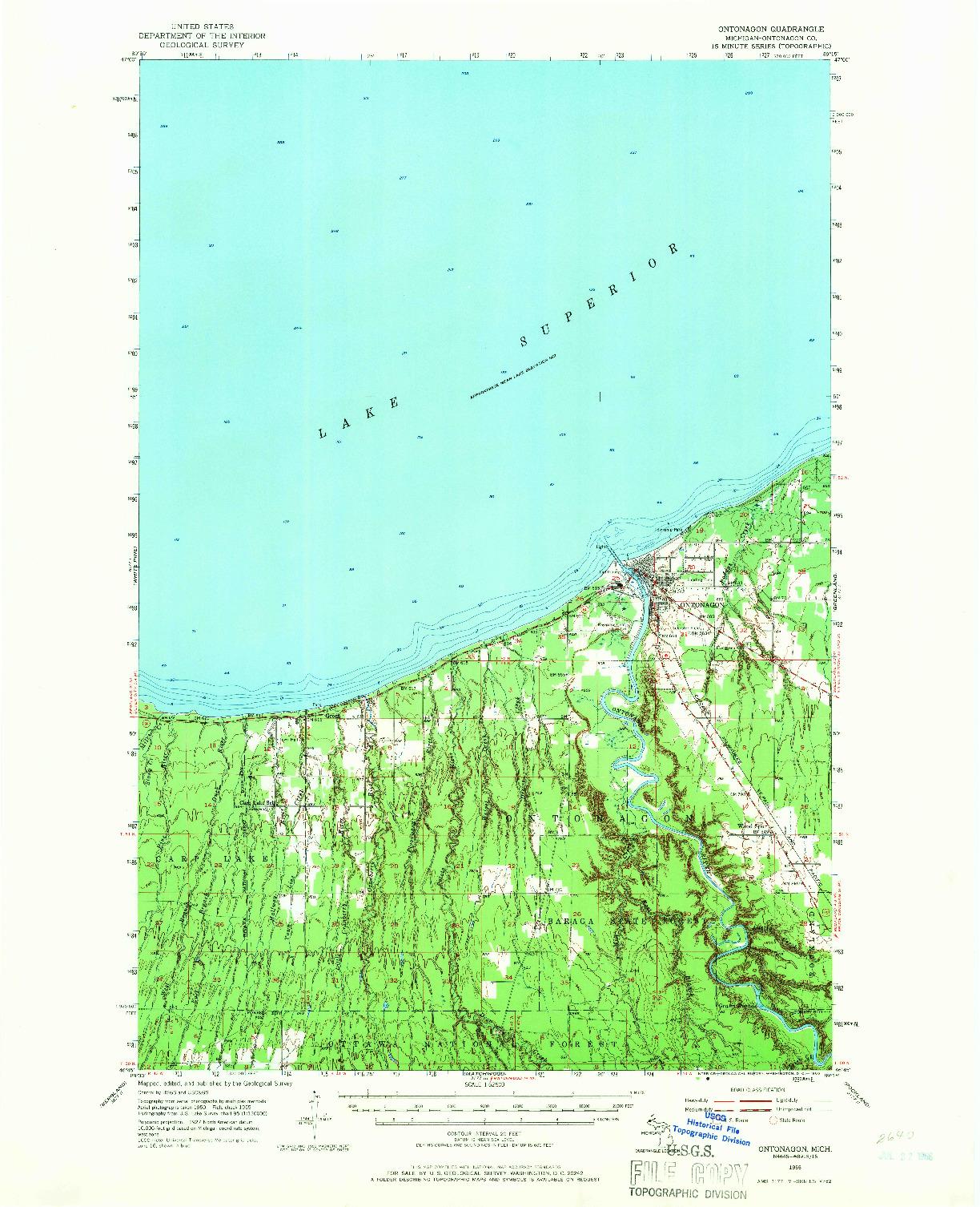 USGS 1:62500-SCALE QUADRANGLE FOR ONTONAGON, MI 1955