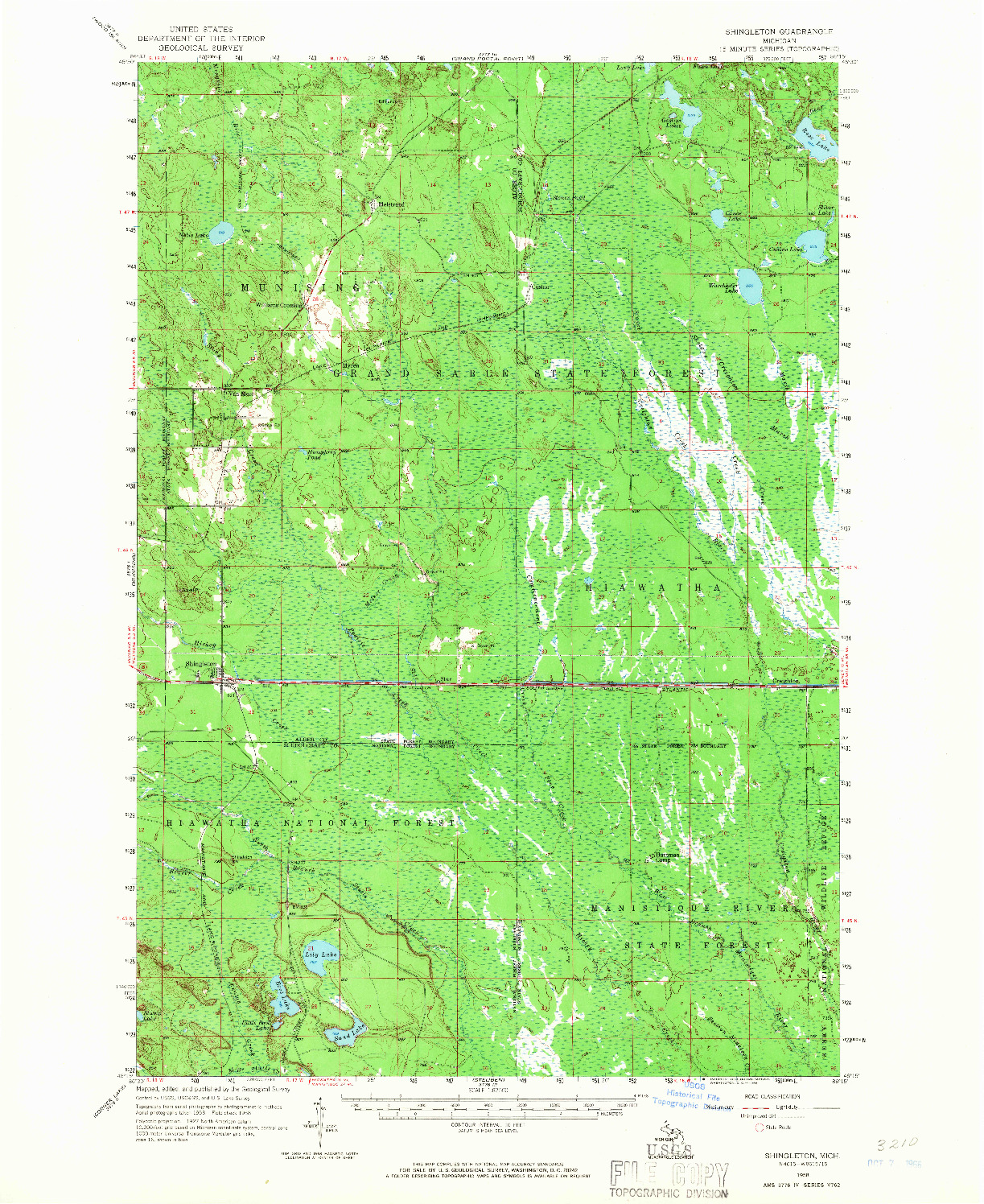 USGS 1:62500-SCALE QUADRANGLE FOR SHINGLETON, MI 1958