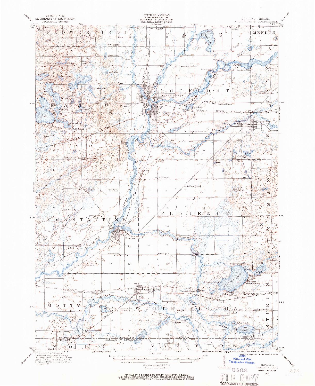 USGS 1:62500-SCALE QUADRANGLE FOR THREE RIVERS, MI 1914