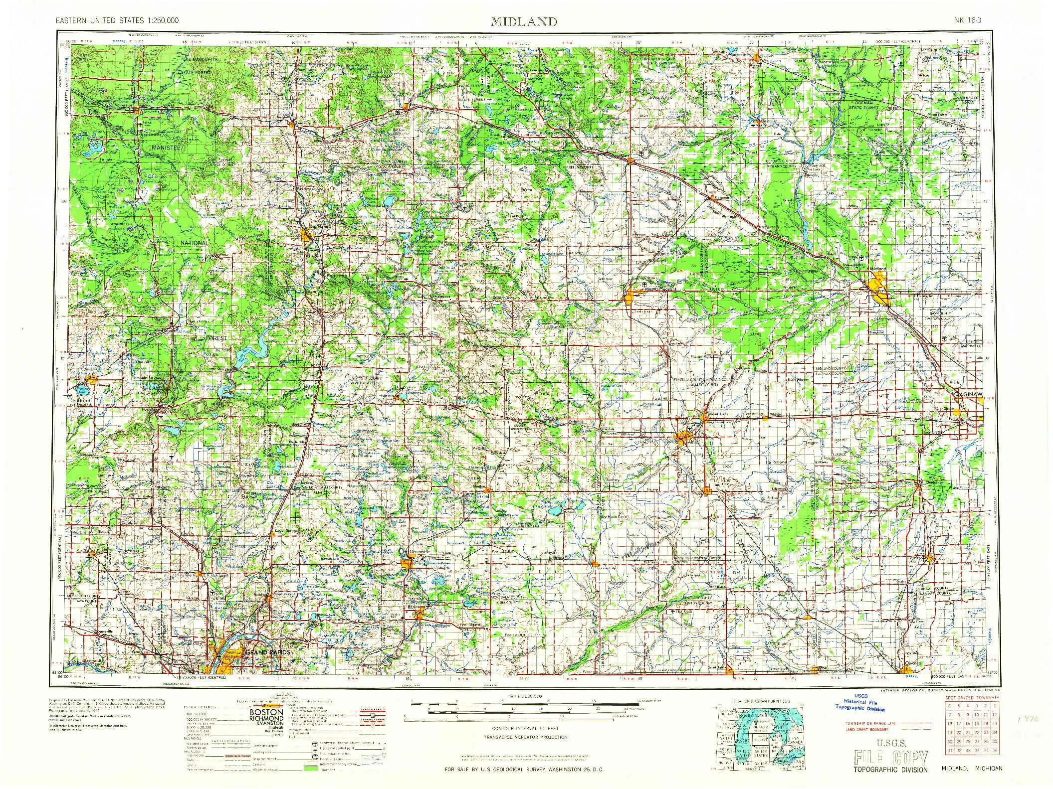 USGS 1:250000-SCALE QUADRANGLE FOR MIDLAND, MI 1966