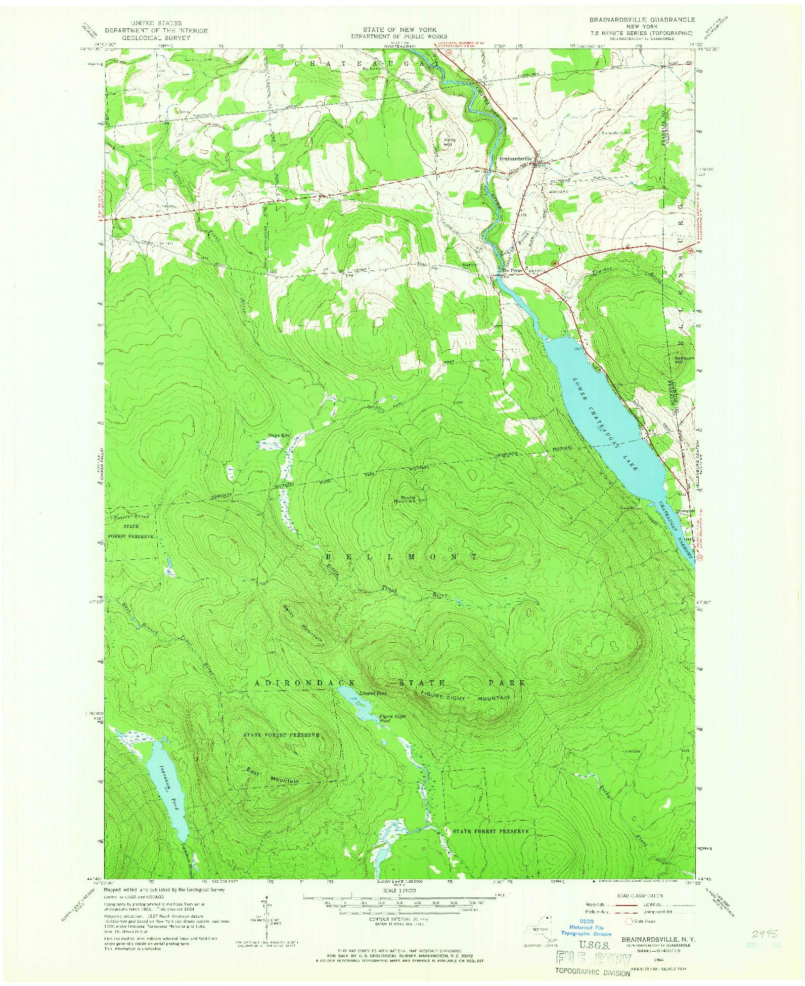 USGS 1:24000-SCALE QUADRANGLE FOR BRAINARDSVILLE, NY 1964