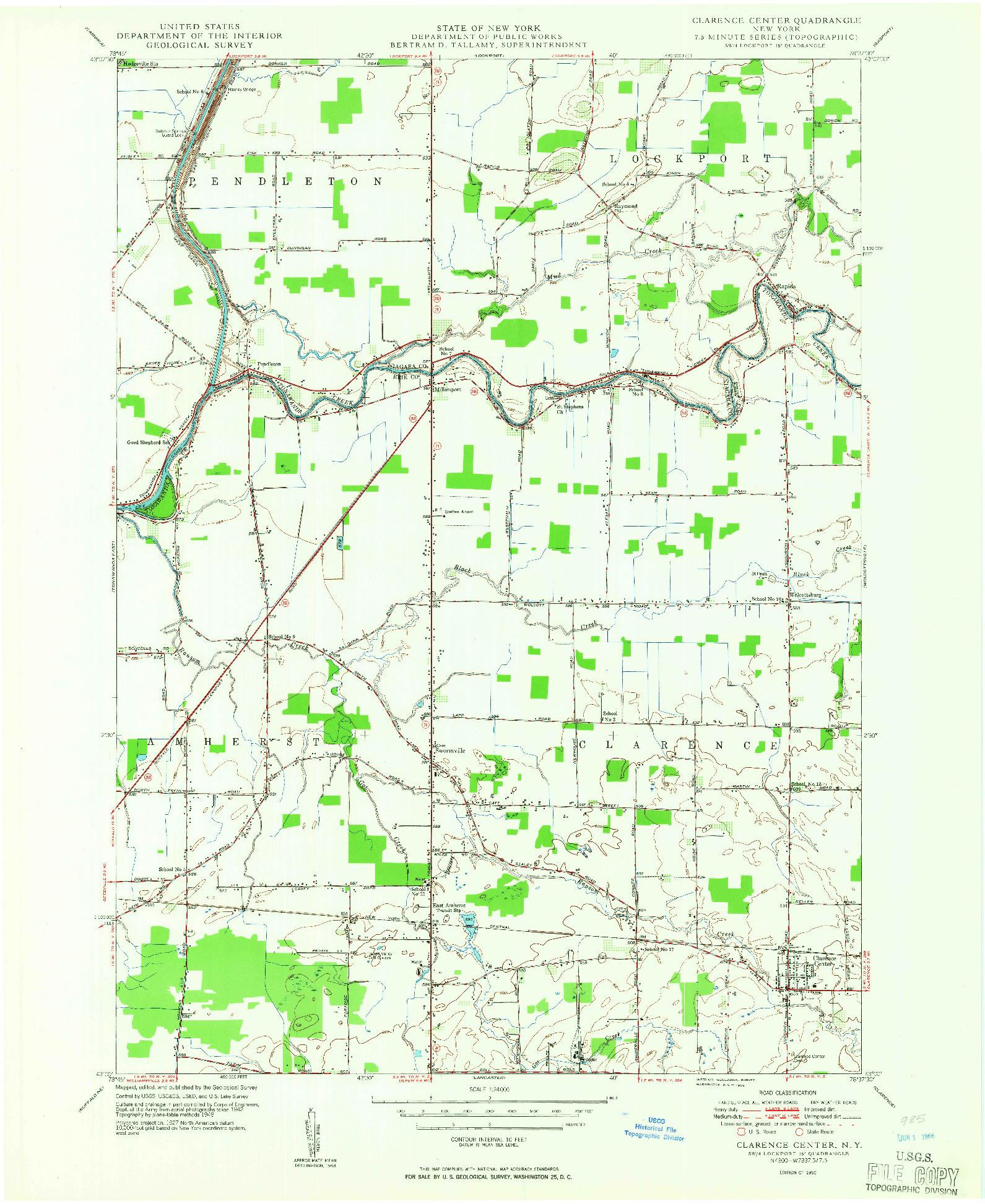 USGS 1:24000-SCALE QUADRANGLE FOR CLARENCE CENTER, NY 1950