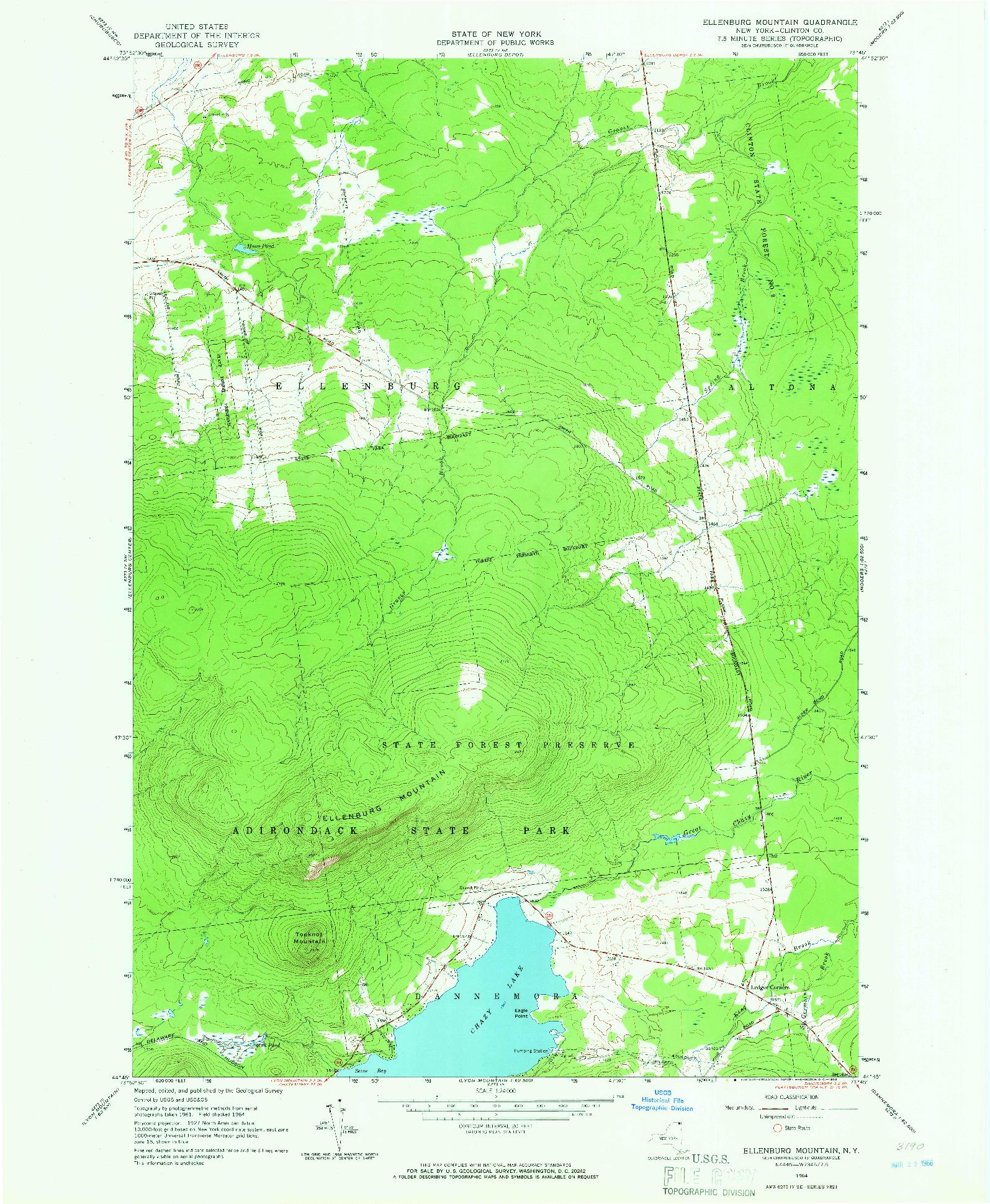 USGS 1:24000-SCALE QUADRANGLE FOR ELLENBURG MOUNTAIN, NY 1964