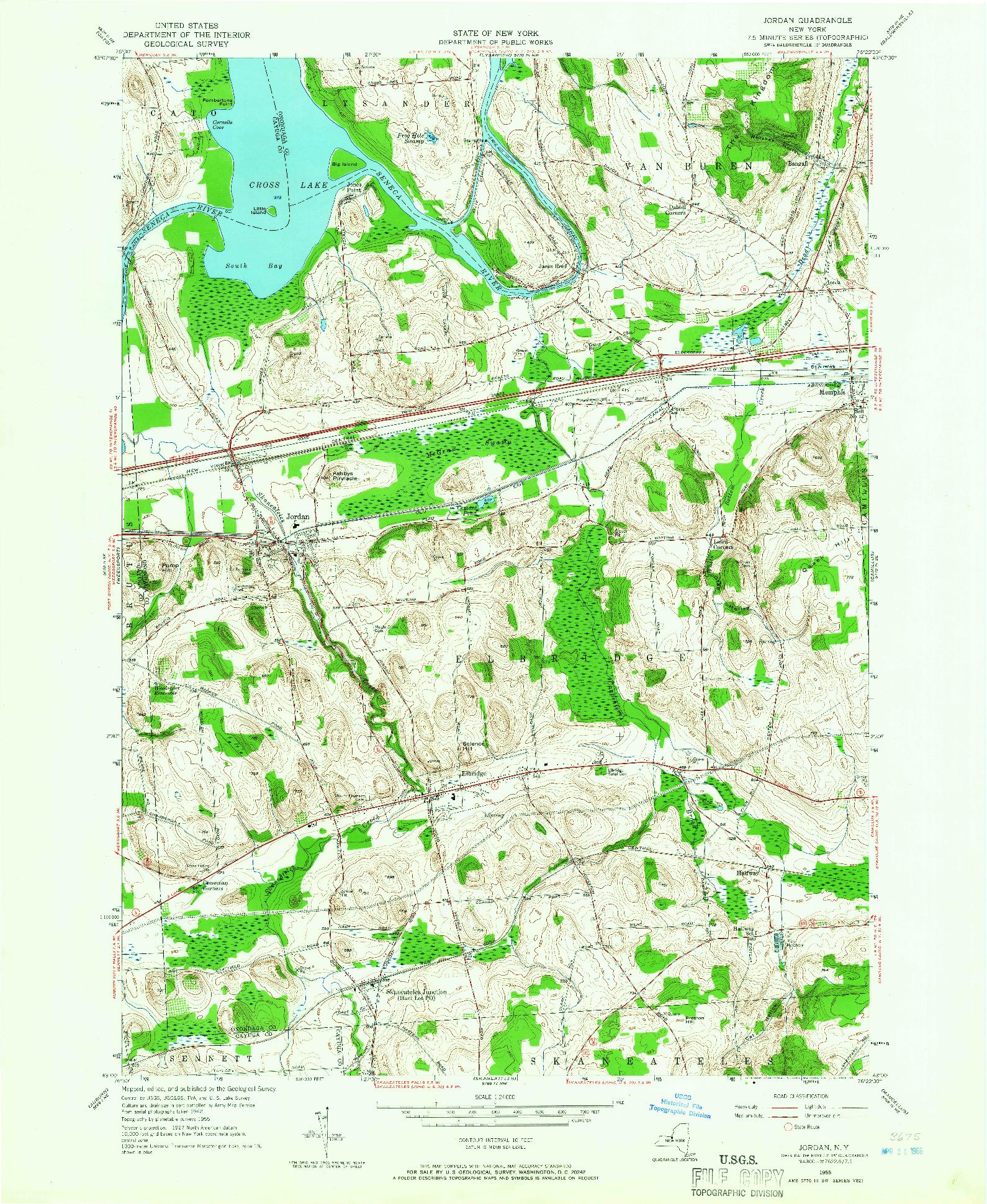 USGS 1:24000-SCALE QUADRANGLE FOR JORDAN, NY 1955
