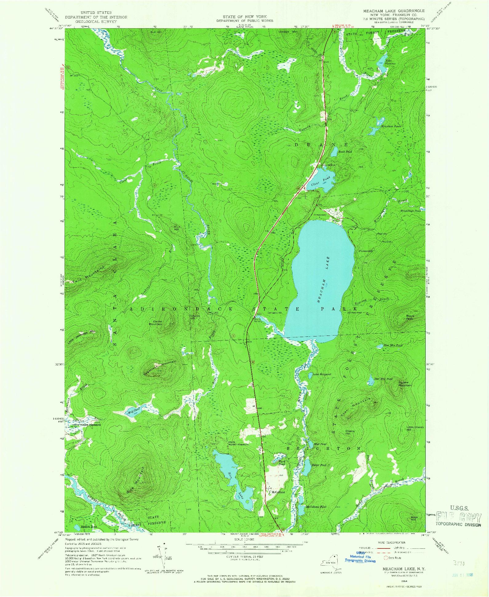 USGS 1:24000-SCALE QUADRANGLE FOR MEACHAM LAKE, NY 1964