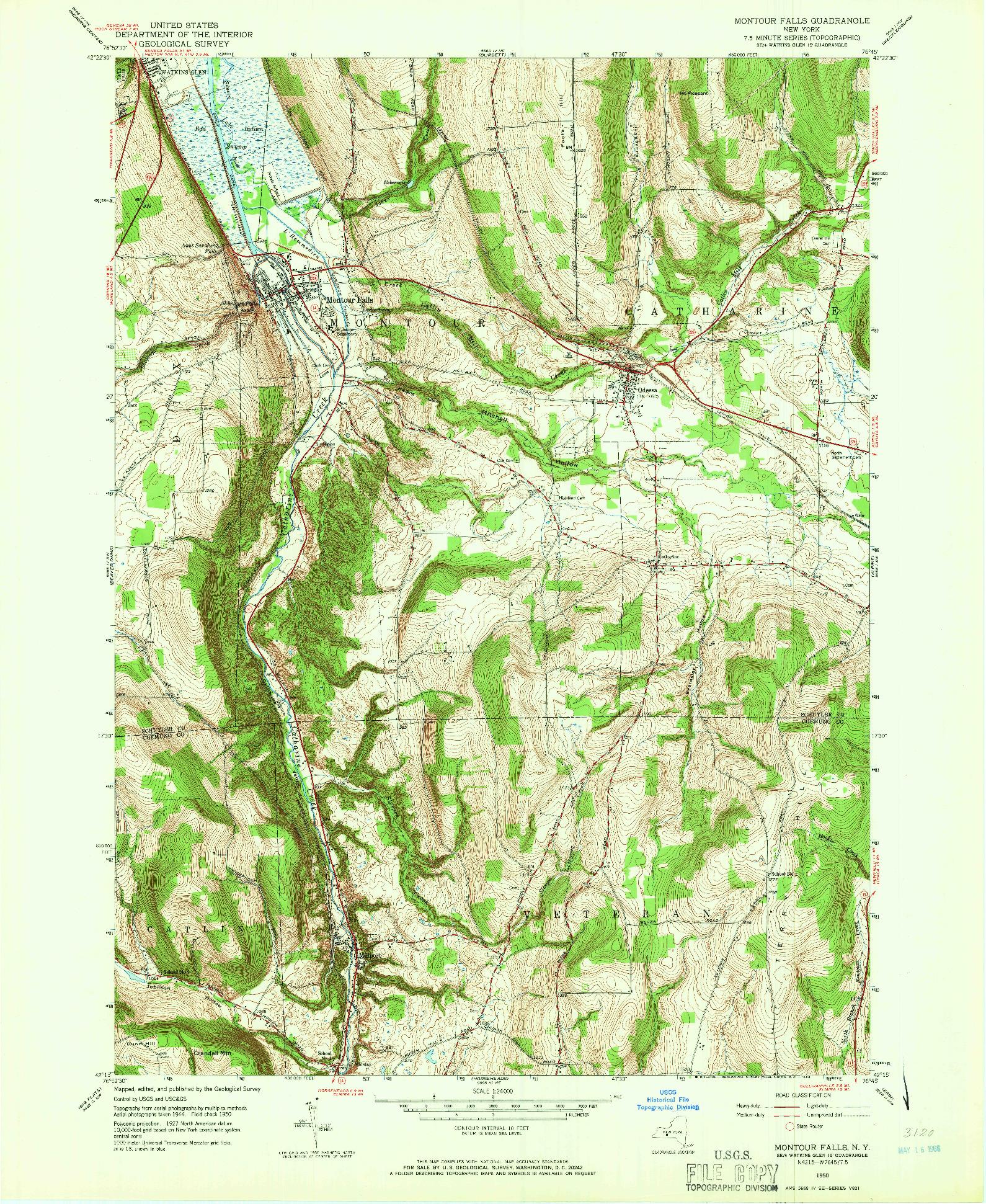 USGS 1:24000-SCALE QUADRANGLE FOR MONTOUR FALLS, NY 1950