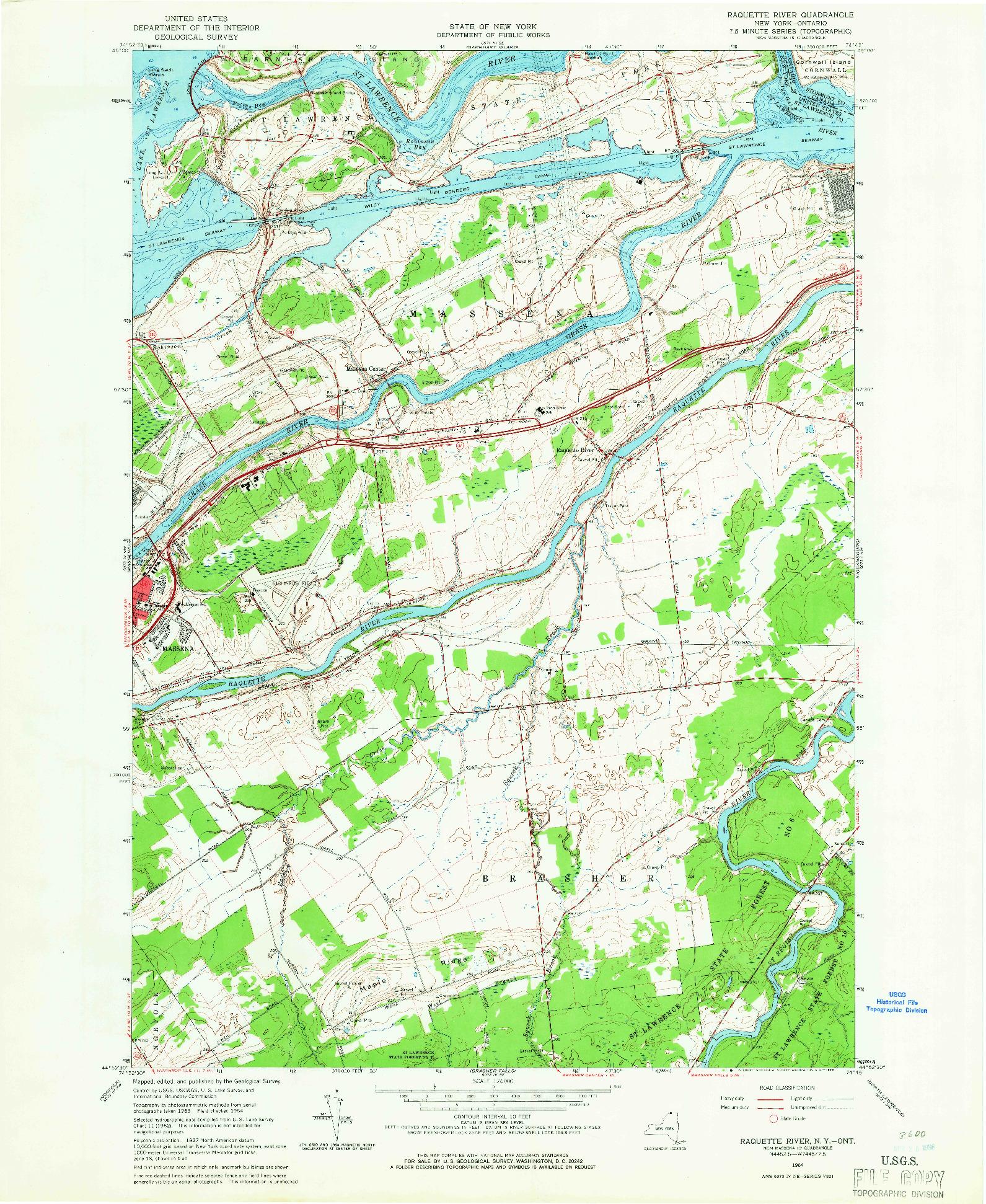 USGS 1:24000-SCALE QUADRANGLE FOR RAQUETTE RIVER, NY 1964