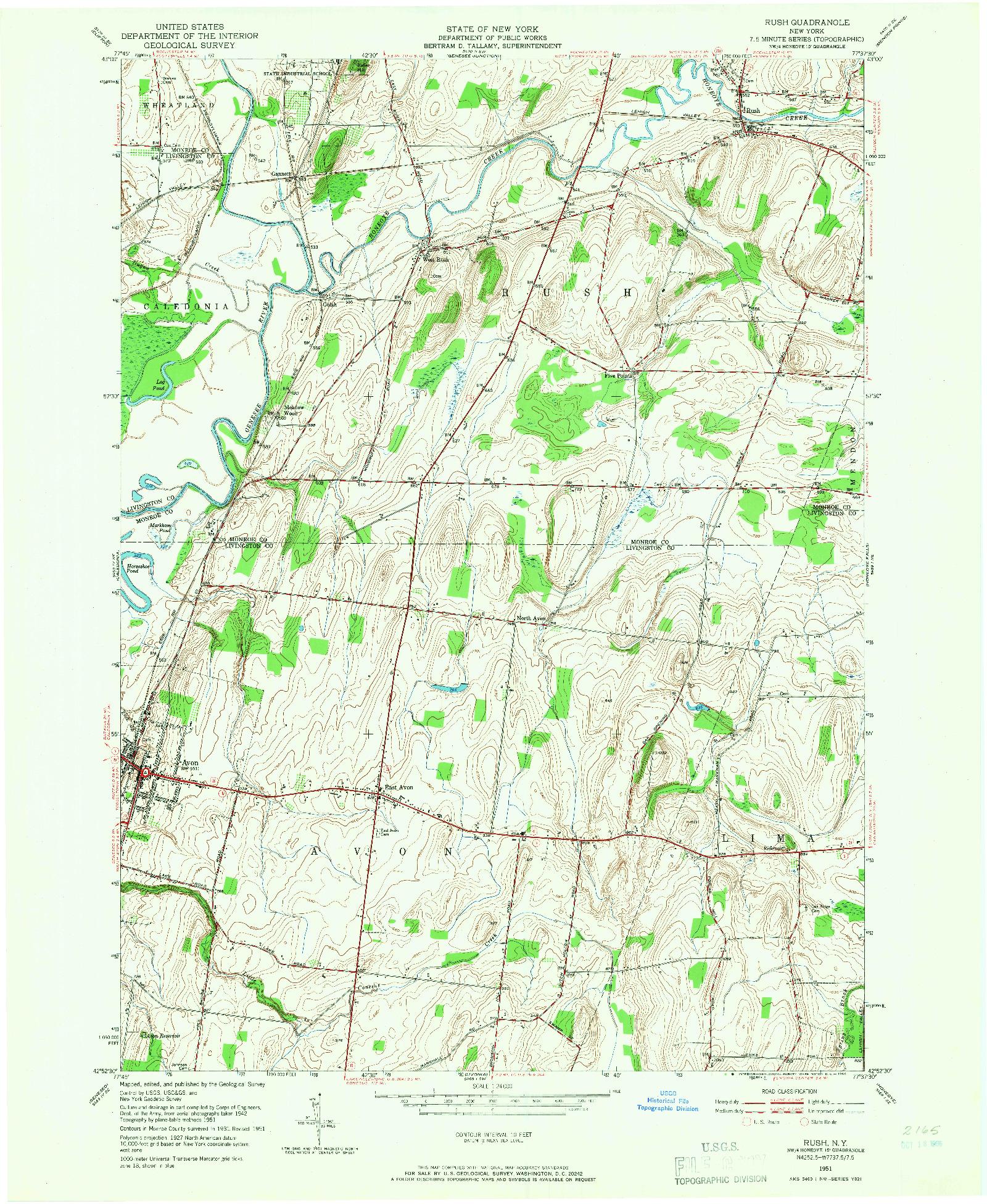 USGS 1:24000-SCALE QUADRANGLE FOR RUSH, NY 1951