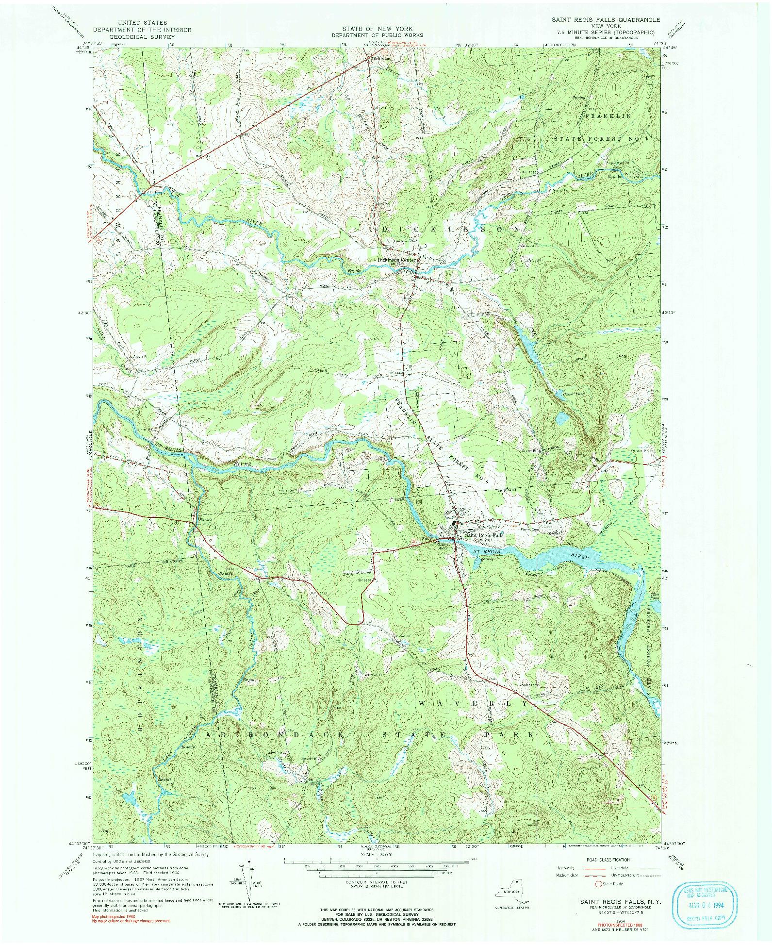 USGS 1:24000-SCALE QUADRANGLE FOR SAINT REGIS FALLS, NY 1964