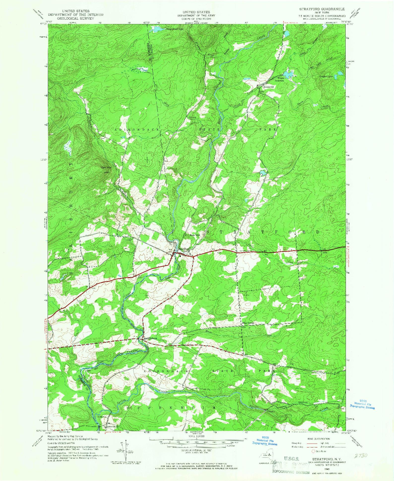 USGS 1:24000-SCALE QUADRANGLE FOR STRATFORD, NY 1945