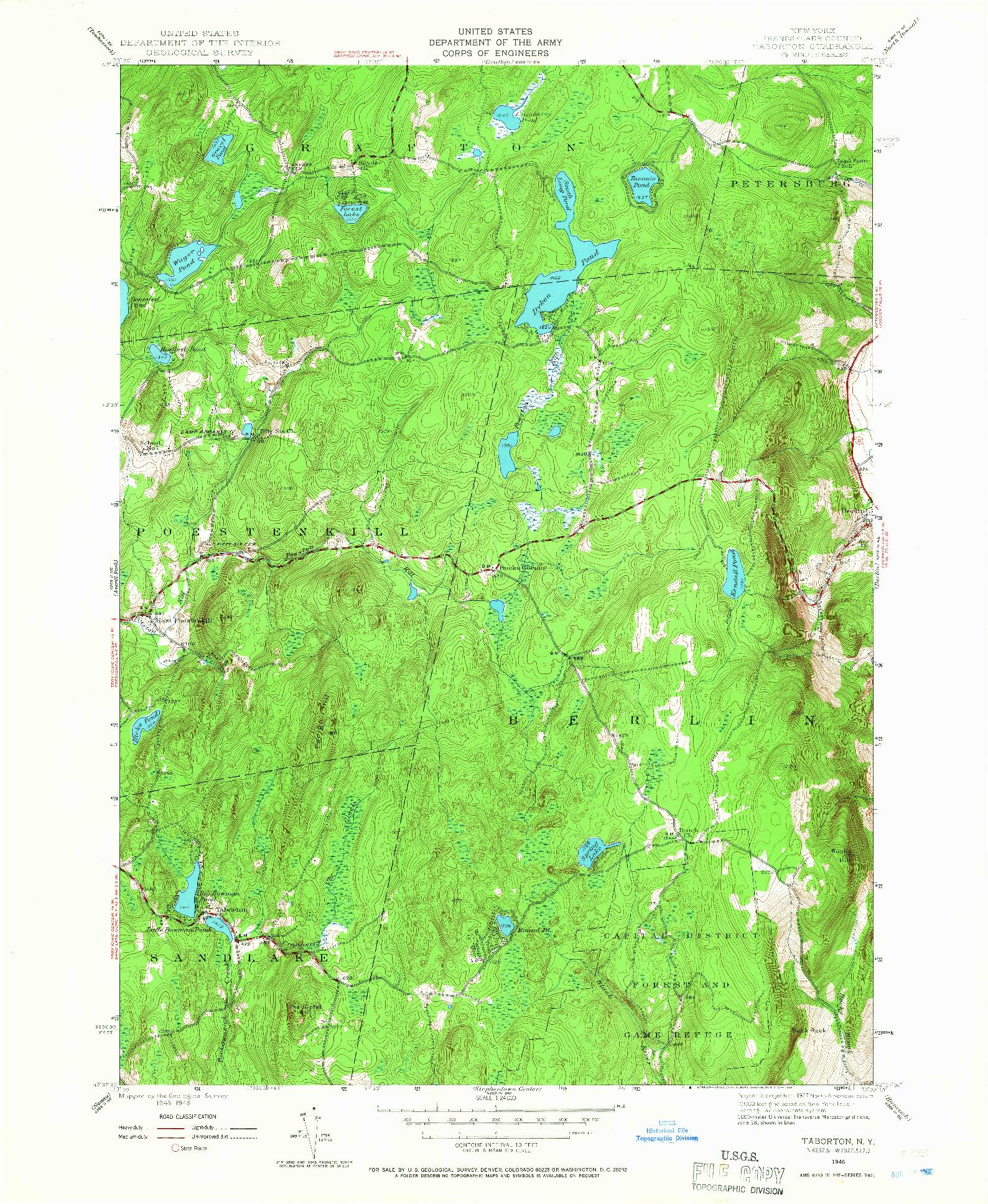 USGS 1:24000-SCALE QUADRANGLE FOR TABORTON, NY 1946