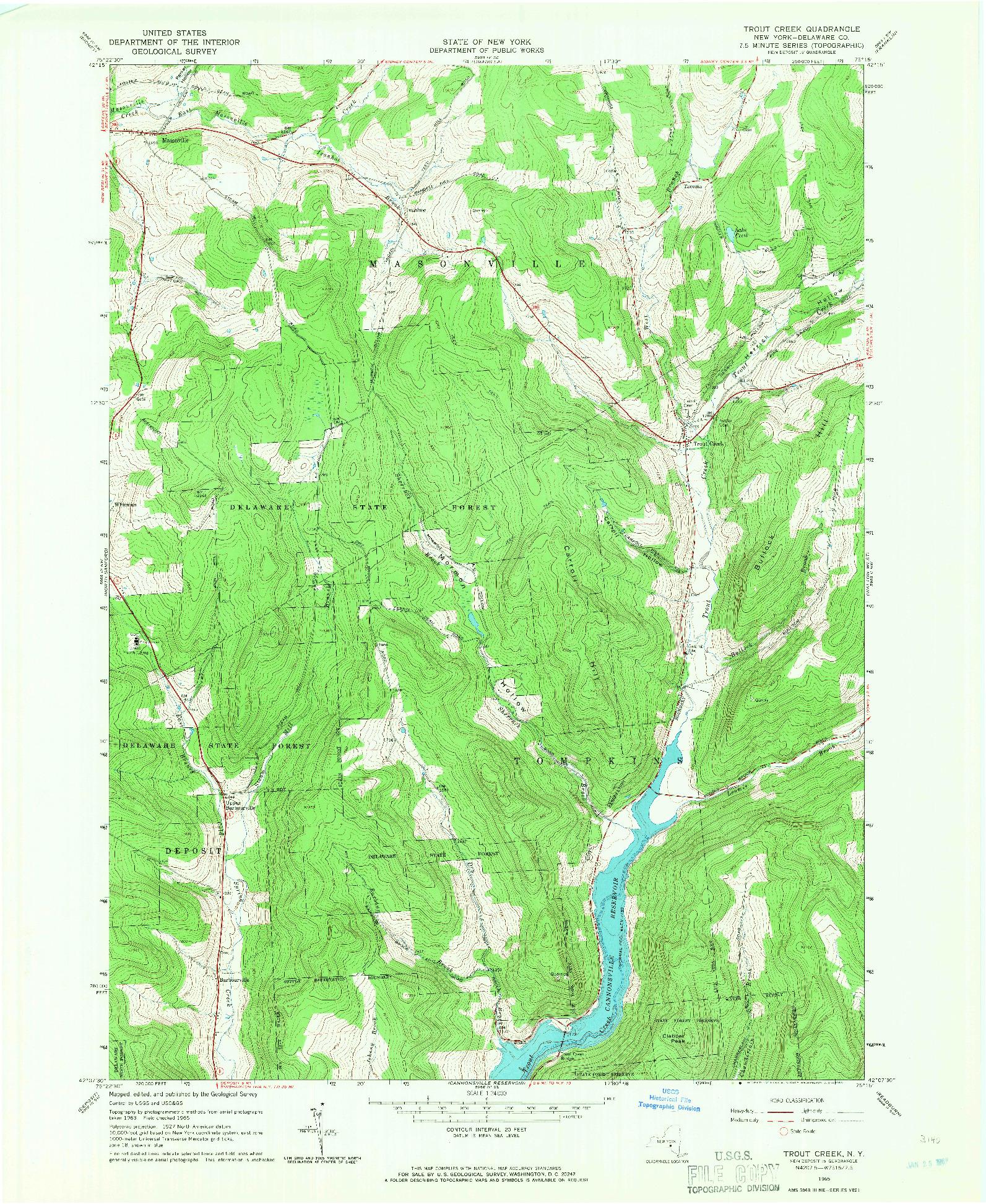 USGS 1:24000-SCALE QUADRANGLE FOR TROUT CREEK, NY 1965
