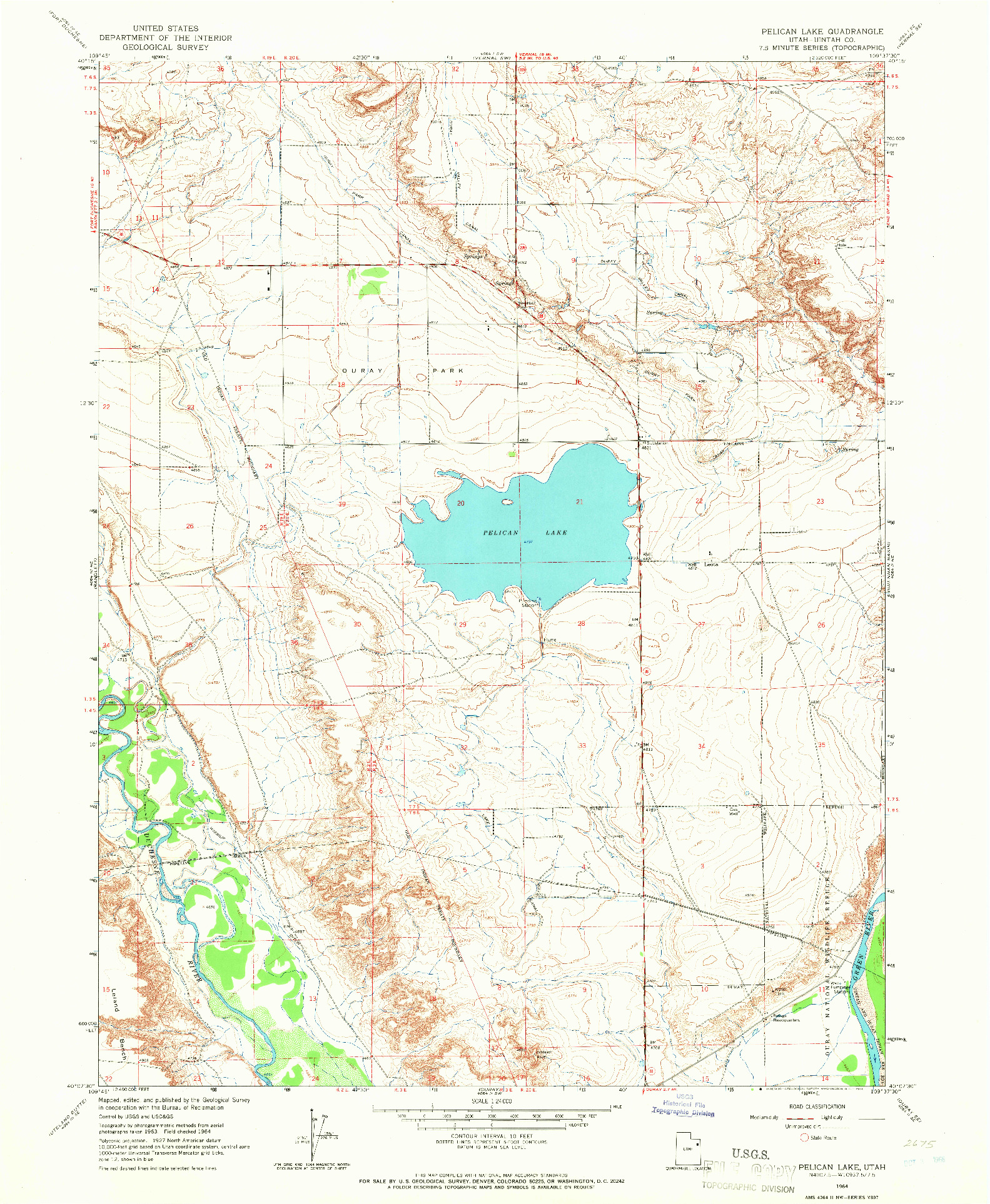 USGS 1:24000-SCALE QUADRANGLE FOR PELICAN LAKE, UT 1964