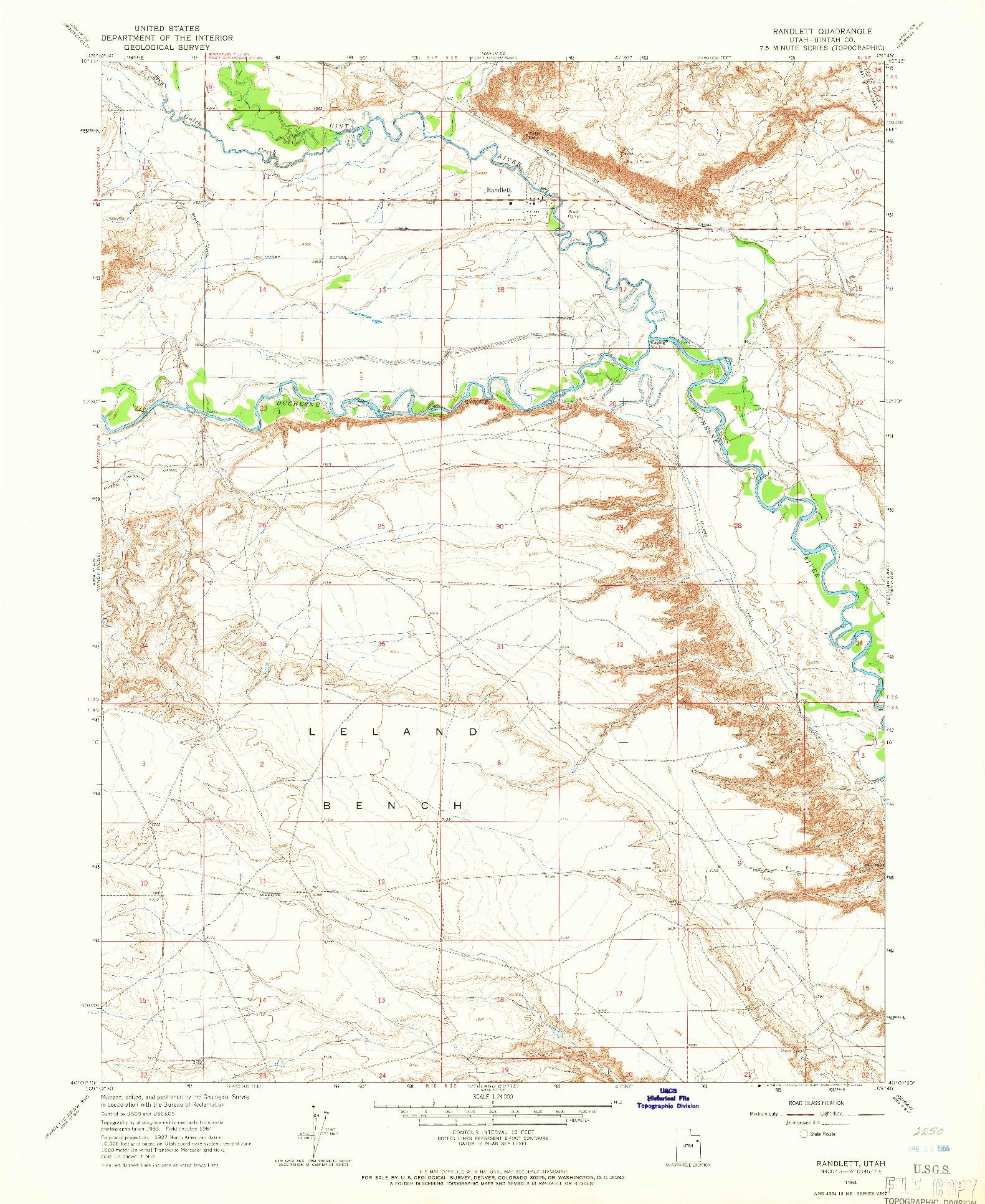 USGS 1:24000-SCALE QUADRANGLE FOR RANDLETT, UT 1964