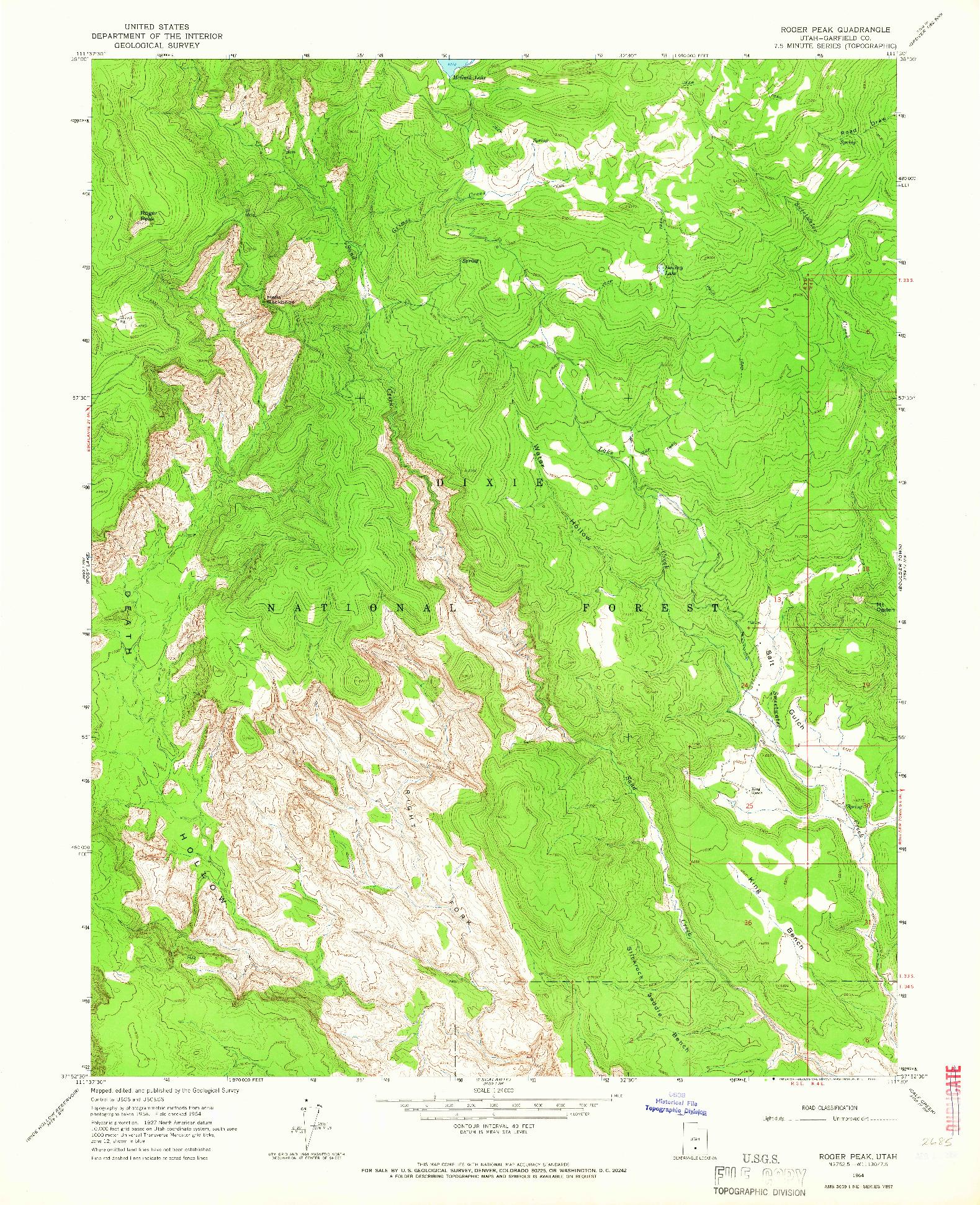 USGS 1:24000-SCALE QUADRANGLE FOR ROGER PEAK, UT 1964