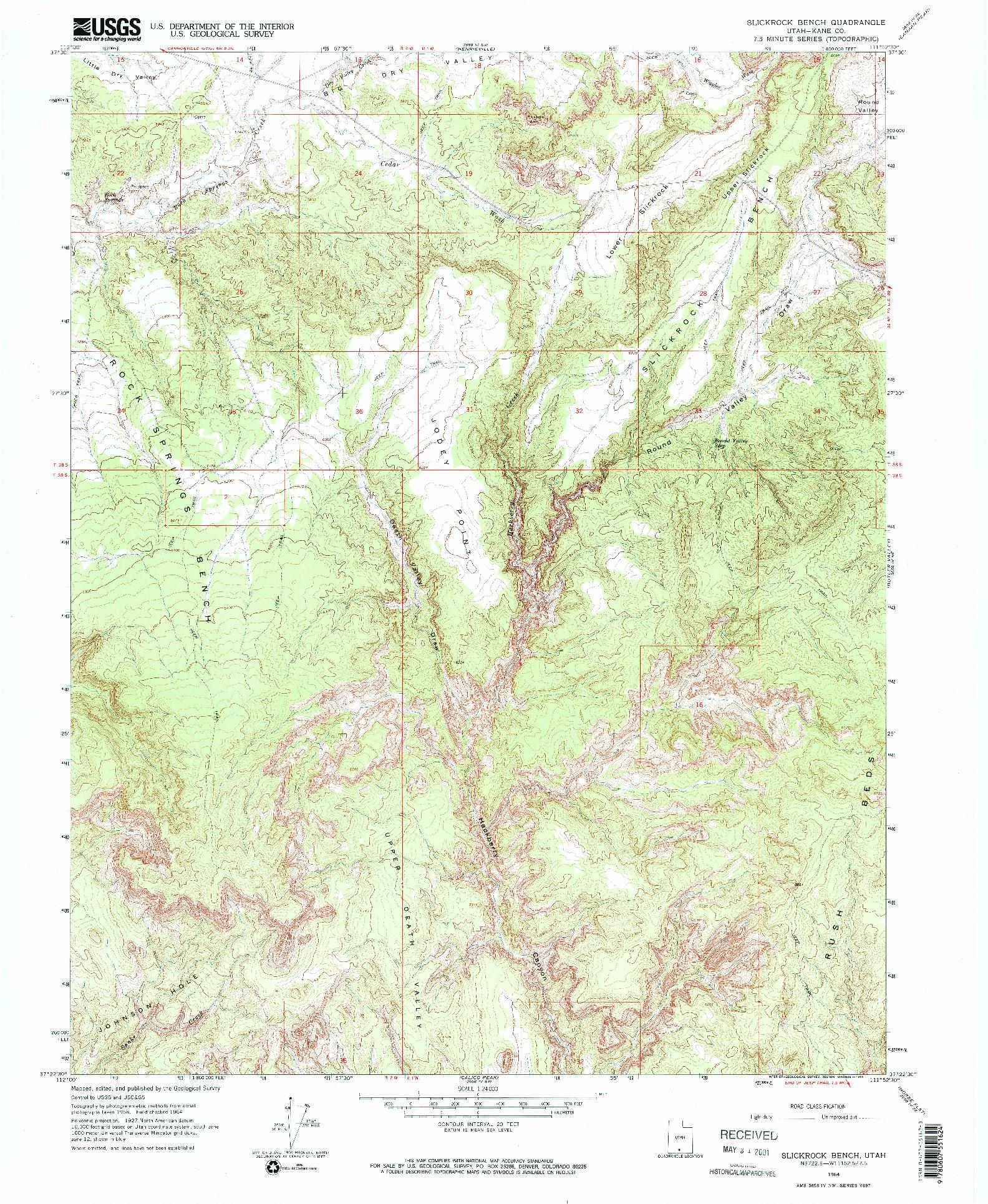 USGS 1:24000-SCALE QUADRANGLE FOR SLICKROCK BENCH, UT 1964