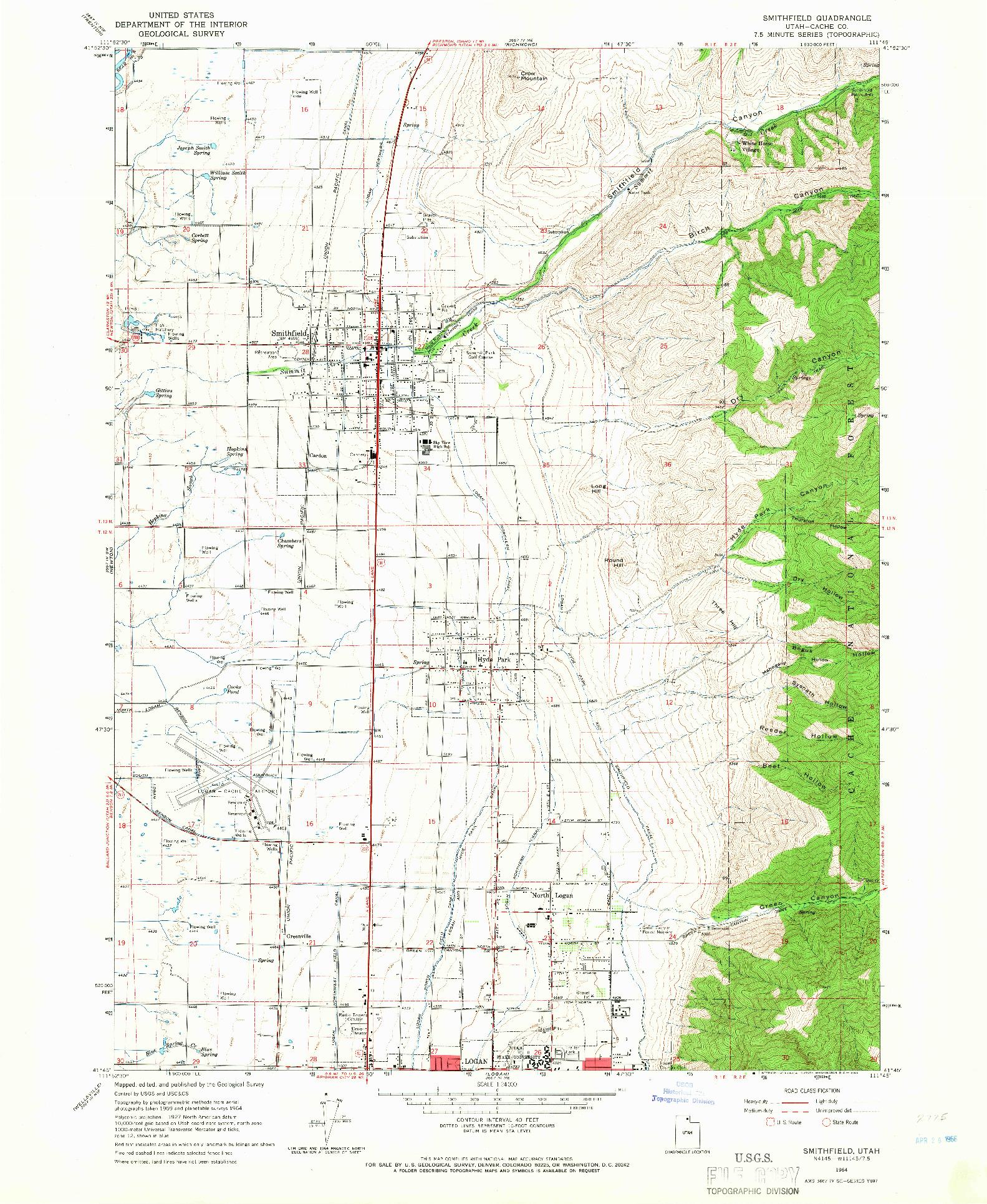 USGS 1:24000-SCALE QUADRANGLE FOR SMITHFIELD, UT 1964
