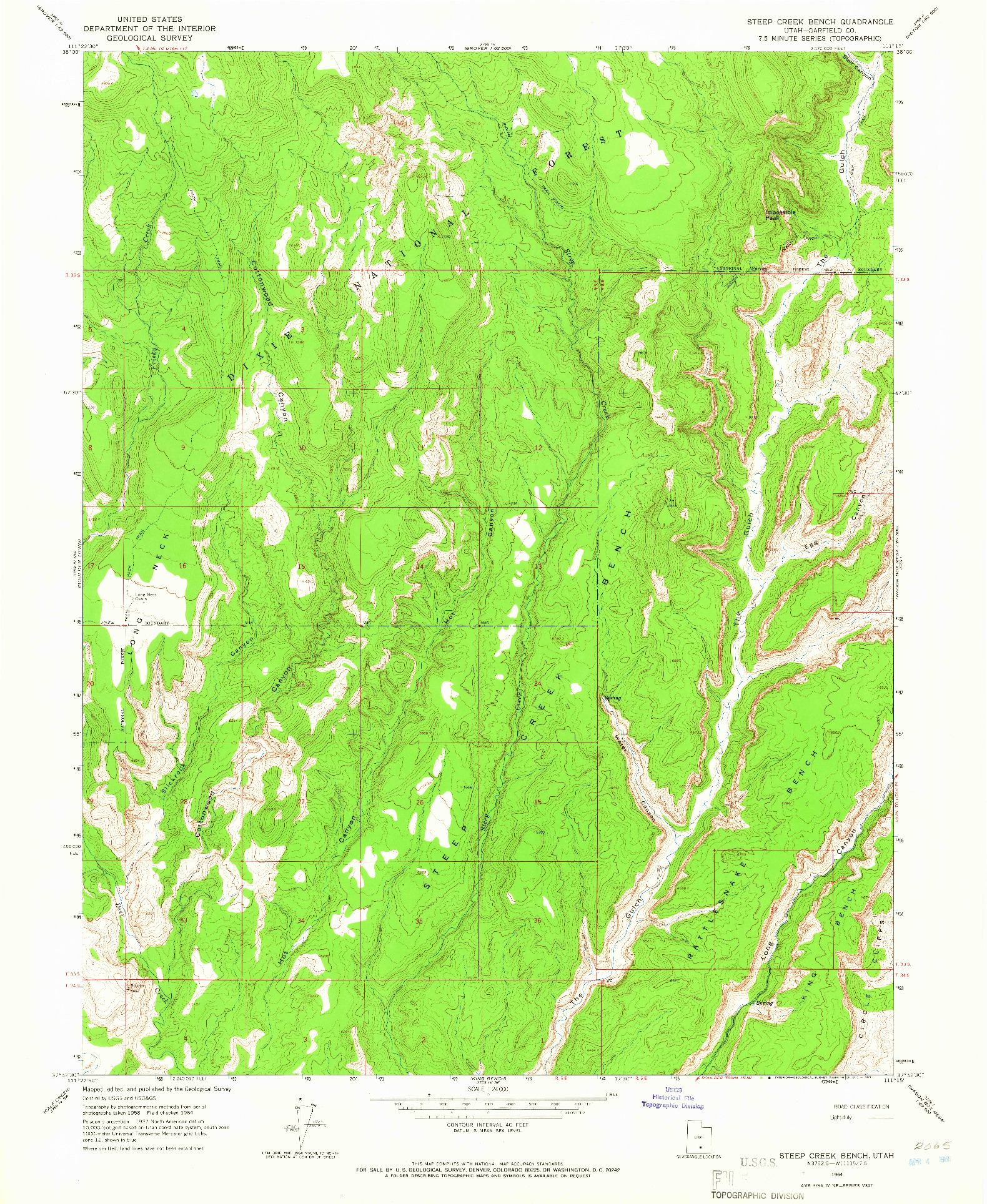 USGS 1:24000-SCALE QUADRANGLE FOR STEEP CREEK BENCH, UT 1964
