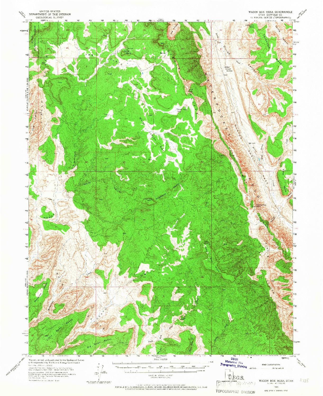 USGS 1:62500-SCALE QUADRANGLE FOR WAGON BOX MESA, UT 1953