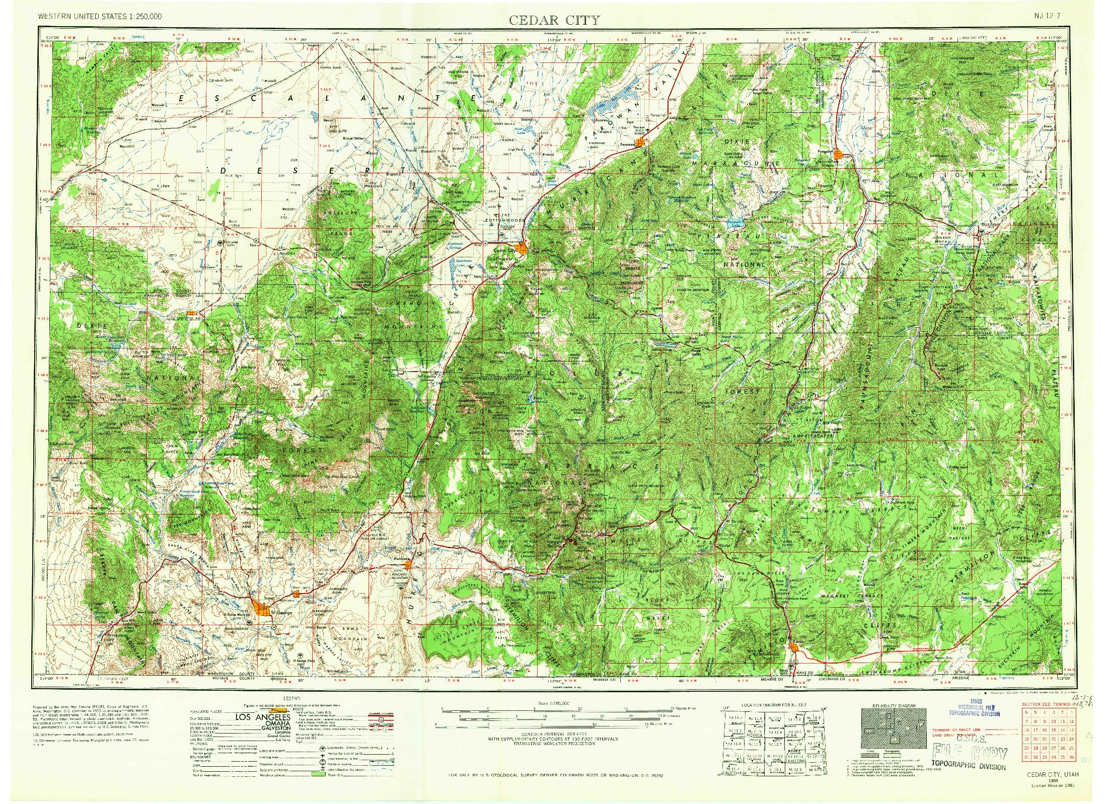 USGS 1:250000-SCALE QUADRANGLE FOR CEDAR CITY, UT 1953