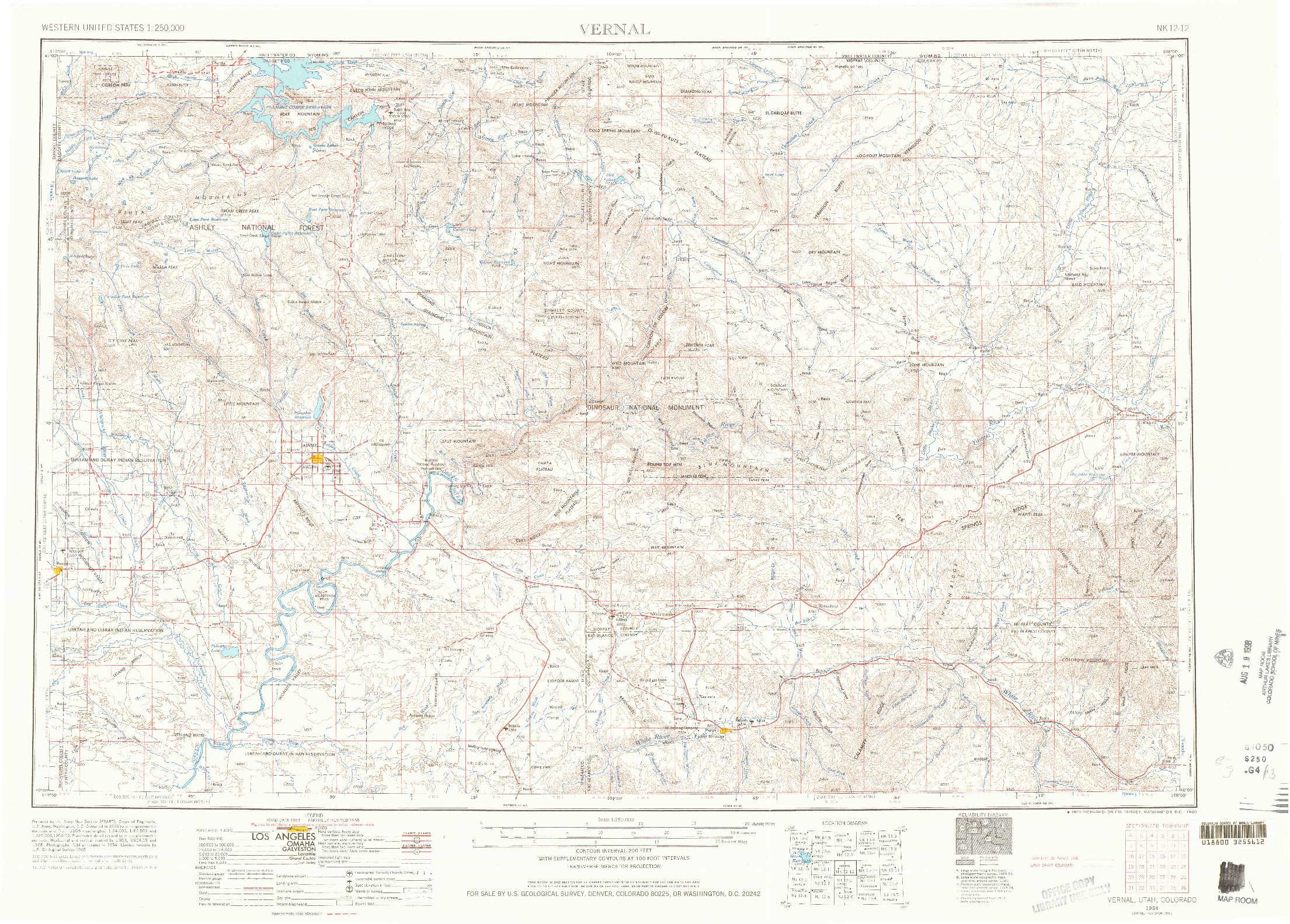 USGS 1:250000-SCALE QUADRANGLE FOR VERNAL, UT 1954