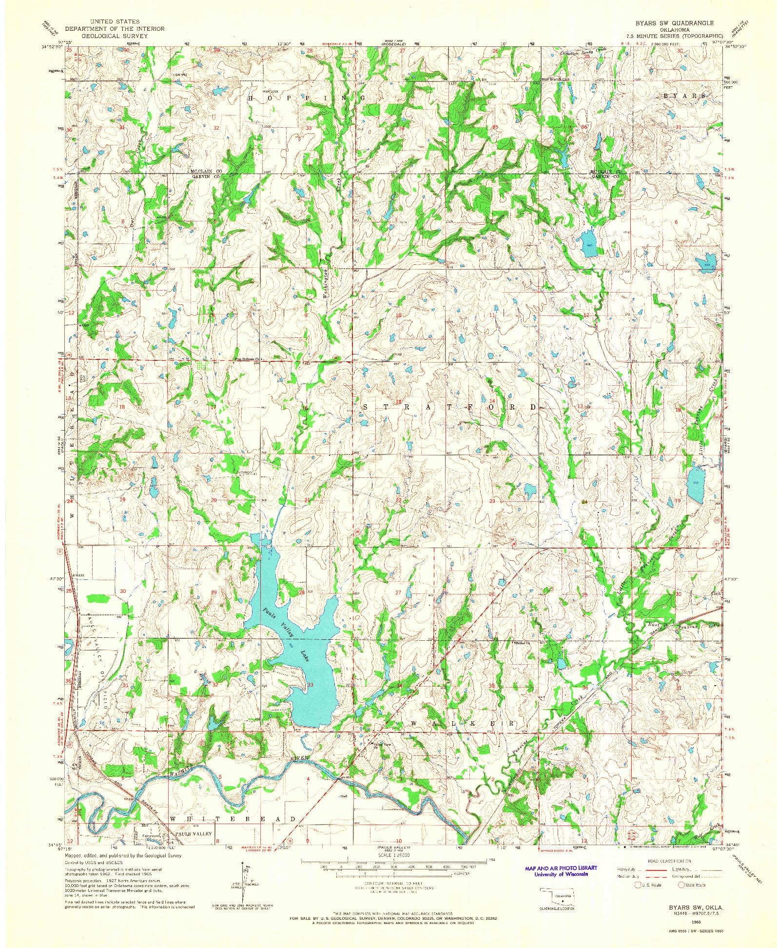 USGS 1:24000-SCALE QUADRANGLE FOR BYARS SW, OK 1965