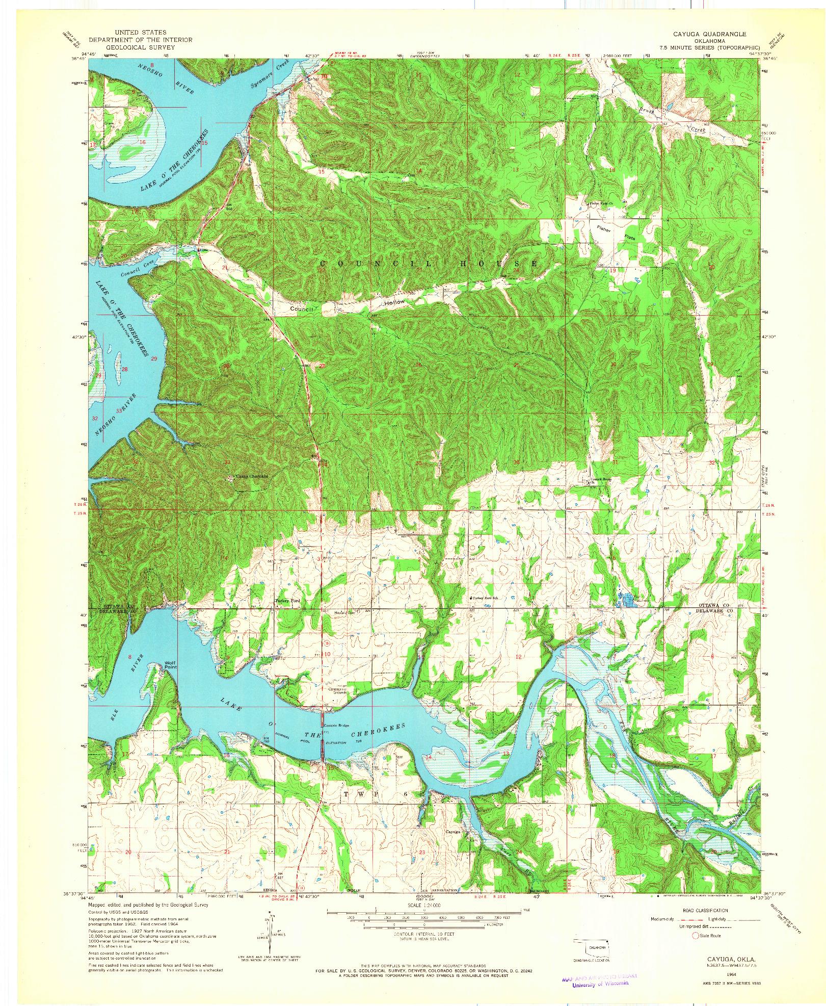 USGS 1:24000-SCALE QUADRANGLE FOR CAYUGA, OK 1964