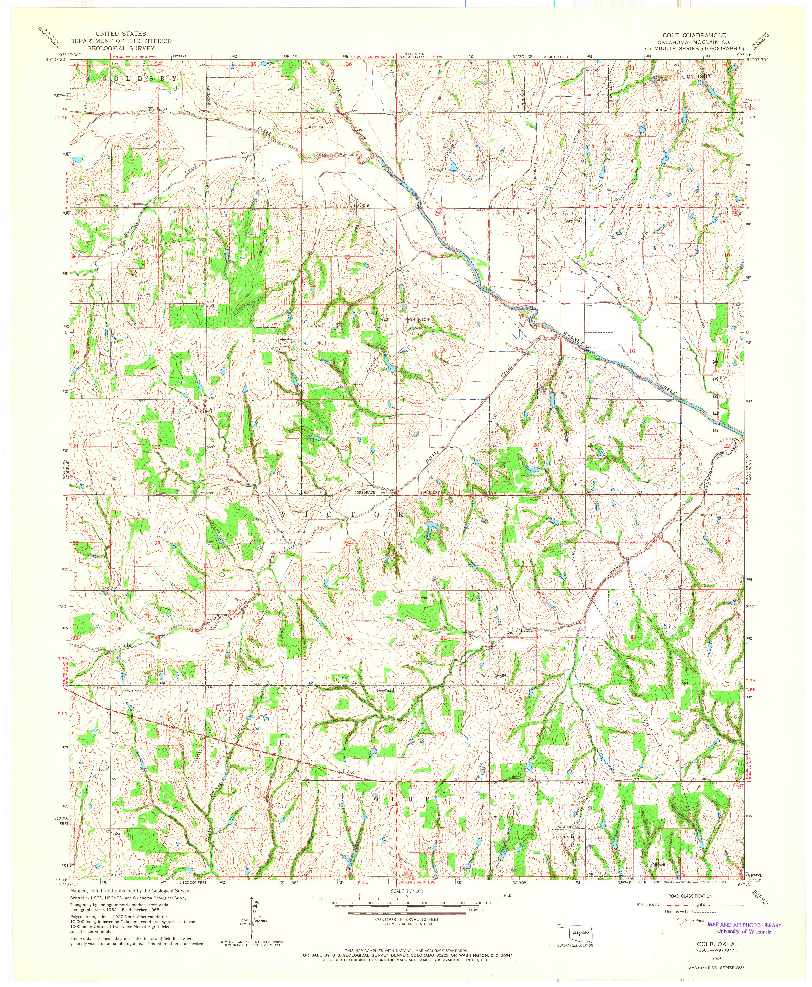 USGS 1:24000-SCALE QUADRANGLE FOR COLE, OK 1965