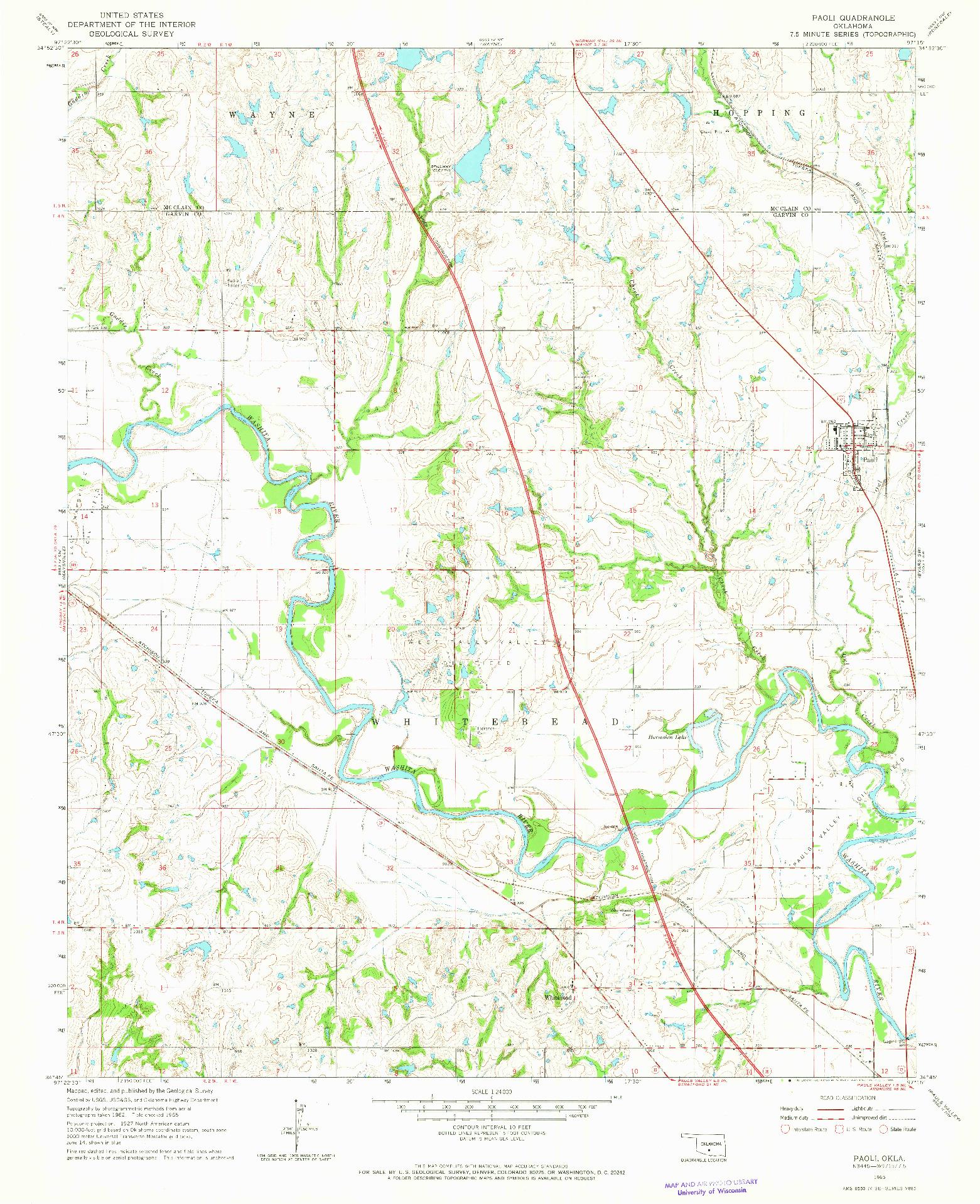 USGS 1:24000-SCALE QUADRANGLE FOR PAOLI, OK 1965