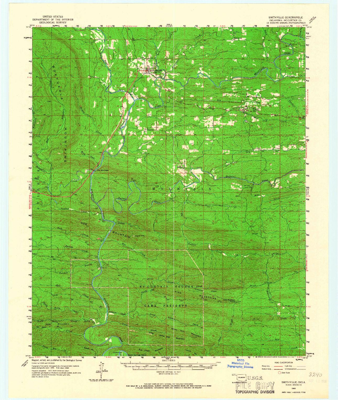 USGS 1:62500-SCALE QUADRANGLE FOR SMITHVILLE, OK 1960