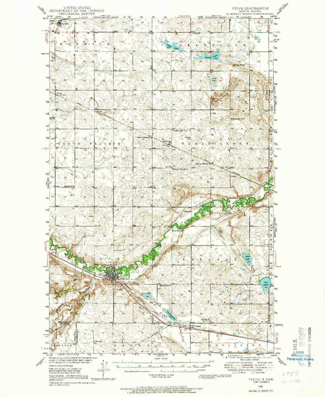 USGS 1:62500-SCALE QUADRANGLE FOR VELVA, ND 1948