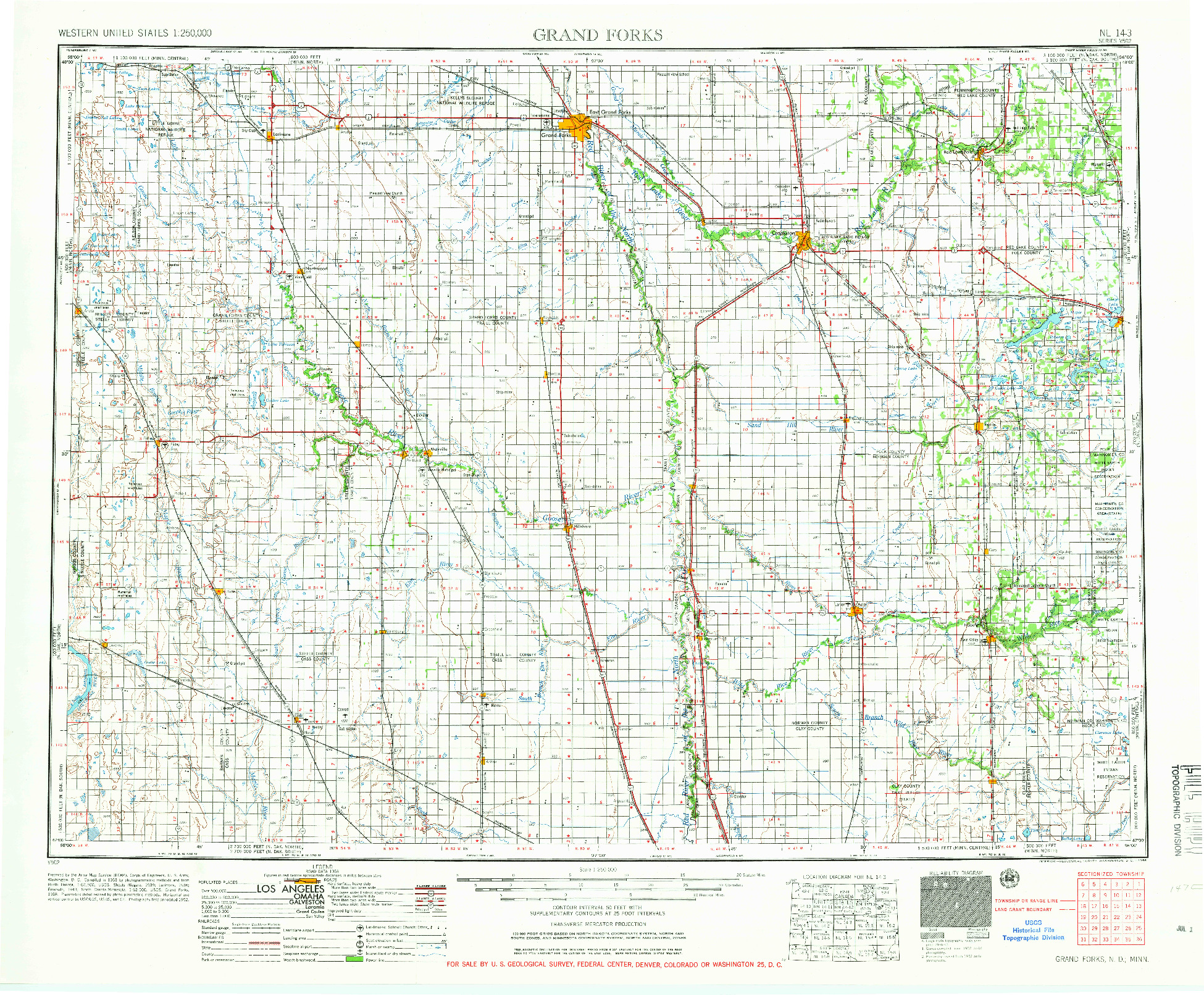 USGS 1:250000-SCALE QUADRANGLE FOR GRAND FORKS, ND 1966