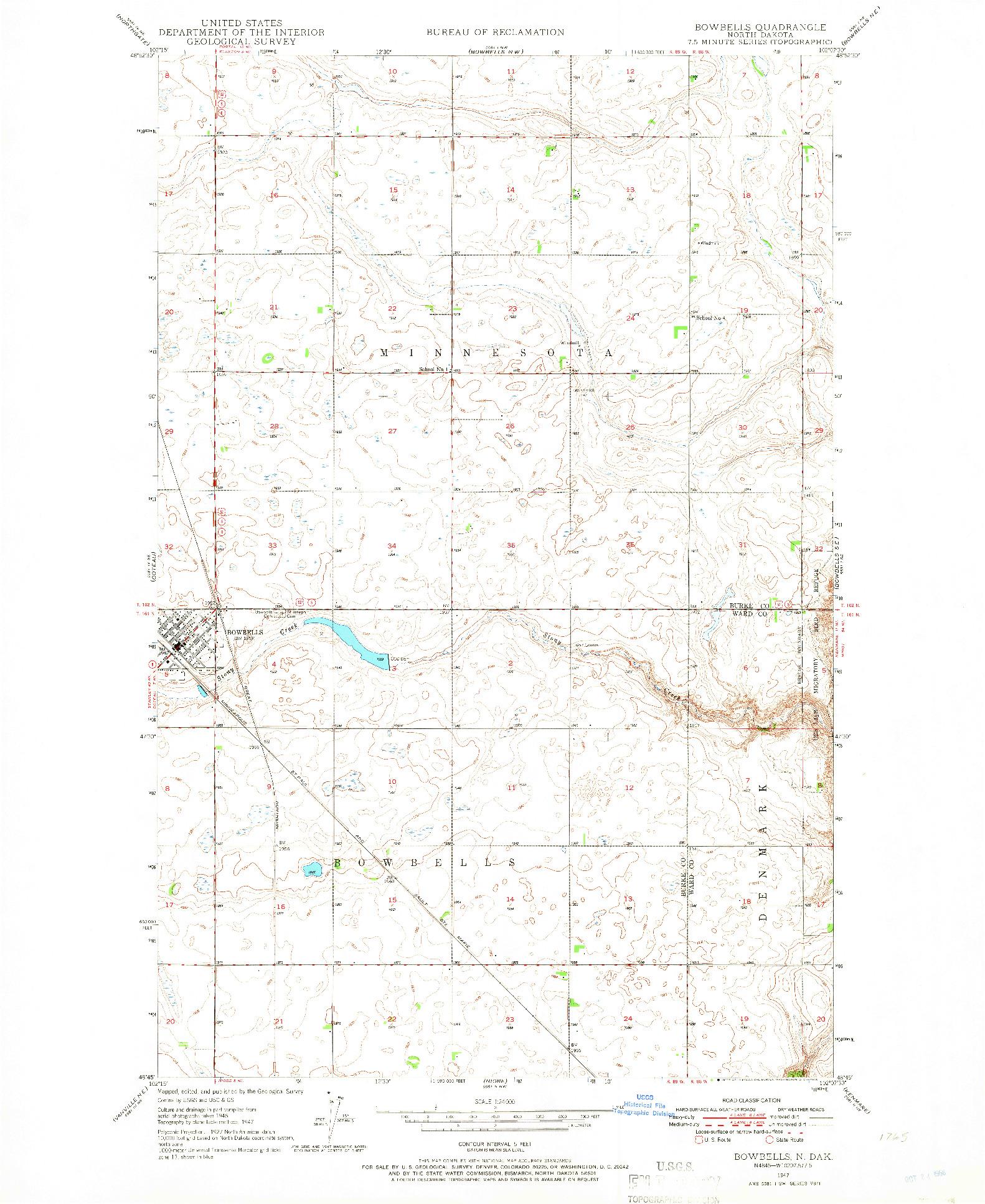 USGS 1:24000-SCALE QUADRANGLE FOR BOWBELLS, ND 1947