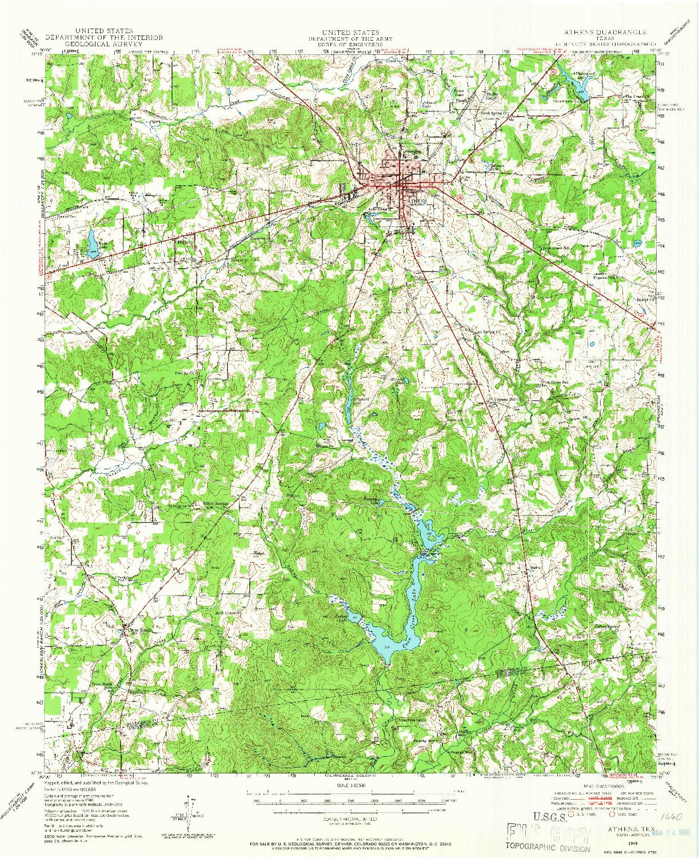 USGS 1:62500-SCALE QUADRANGLE FOR ATHENS, TX 1949