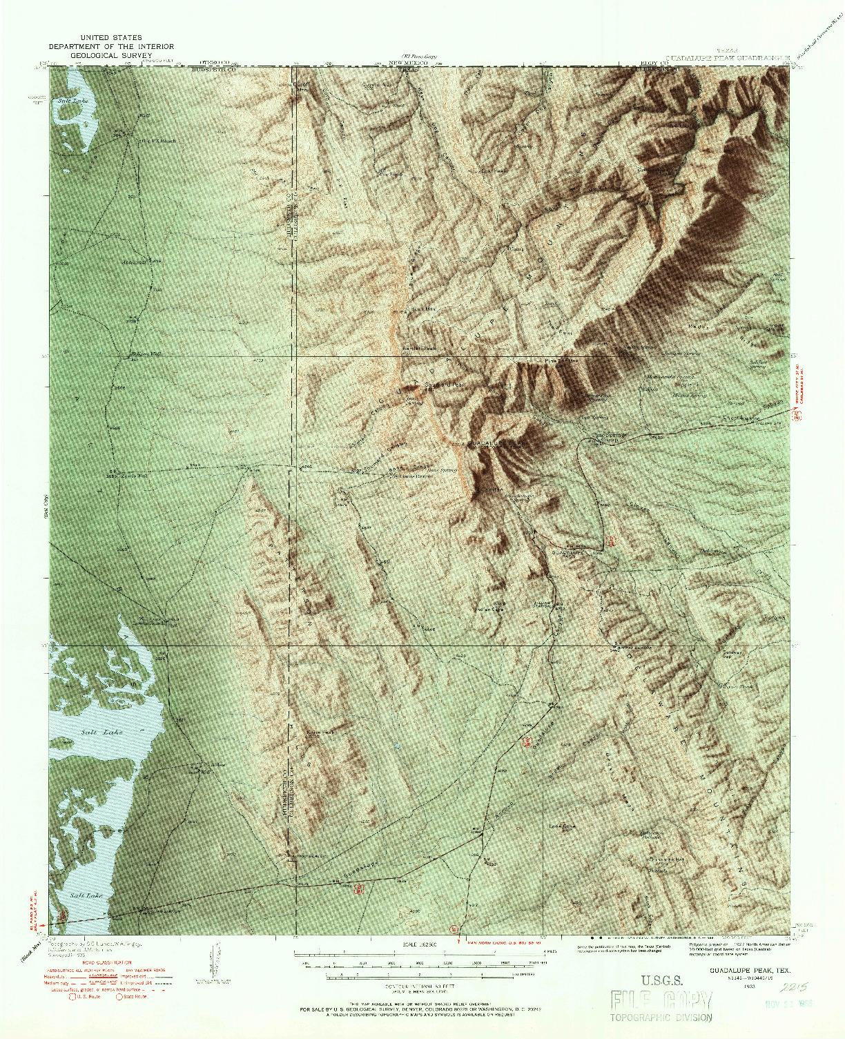 USGS 1:62500-SCALE QUADRANGLE FOR GUADALUPE PEAK, TX 1933