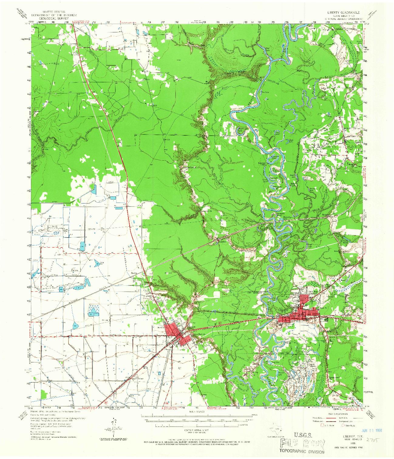 USGS 1:62500-SCALE QUADRANGLE FOR LIBERTY, TX 1955