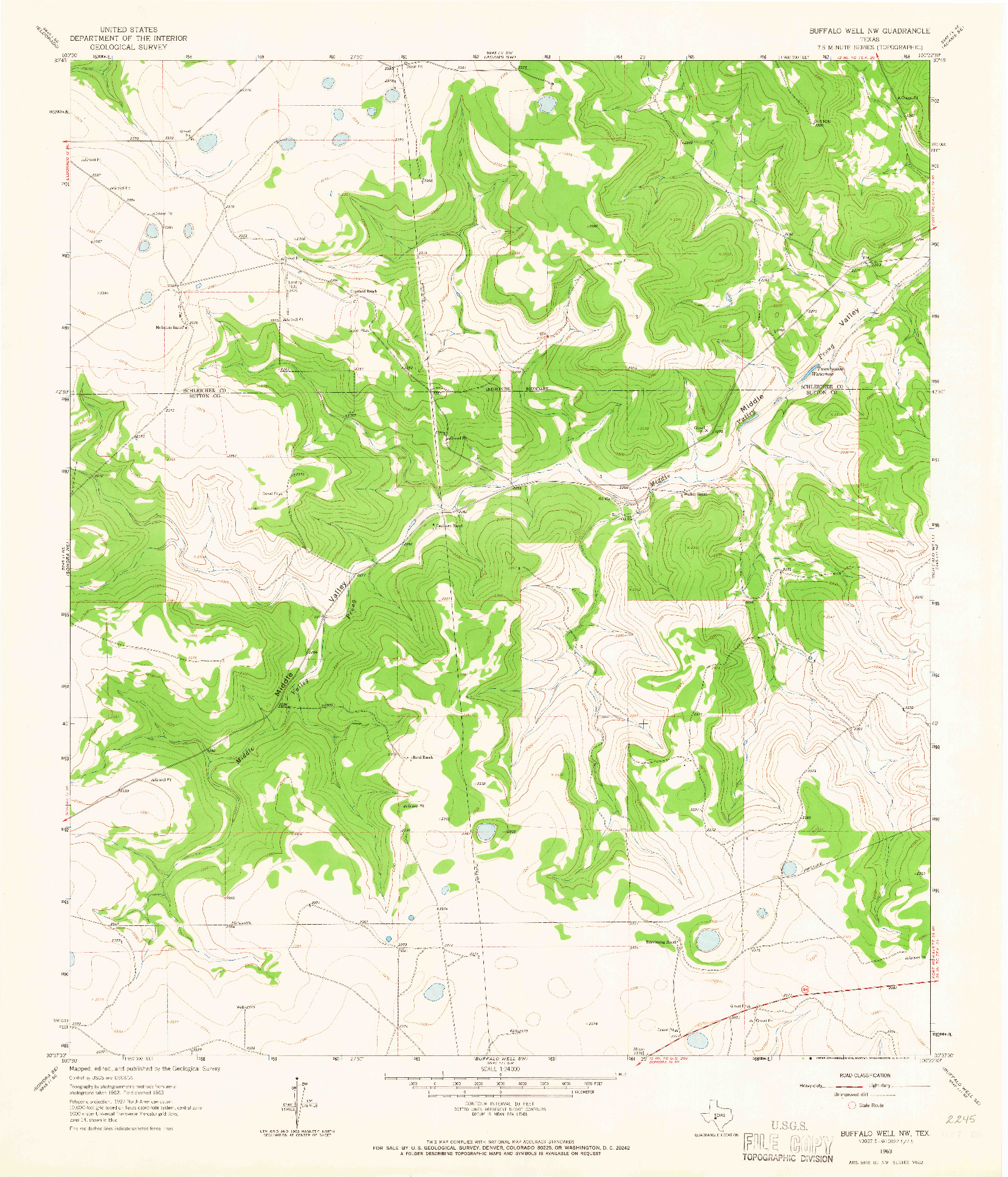 USGS 1:24000-SCALE QUADRANGLE FOR BUFFALO WELL NW, TX 1963