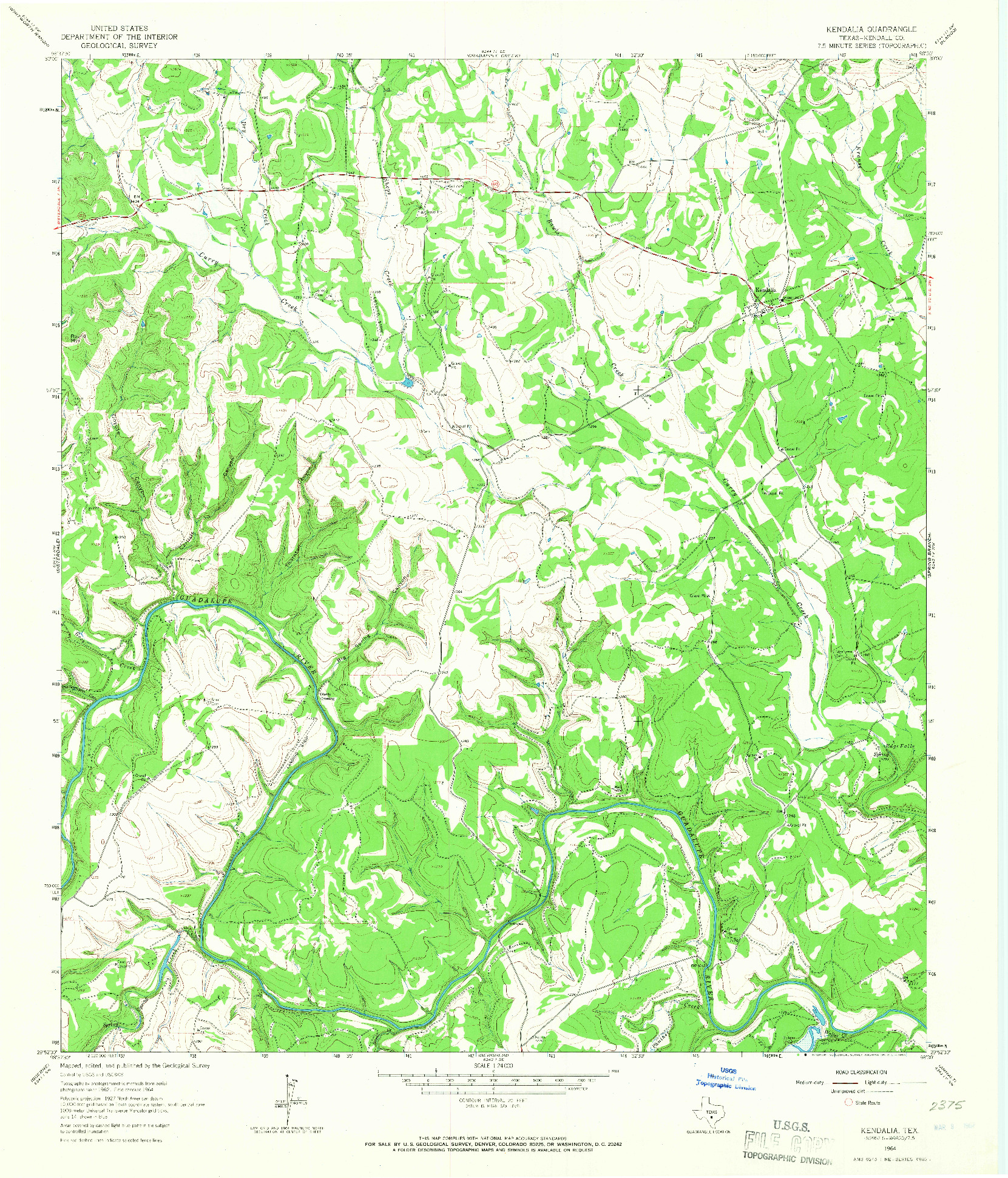 USGS 1:24000-SCALE QUADRANGLE FOR KENDALIA, TX 1964
