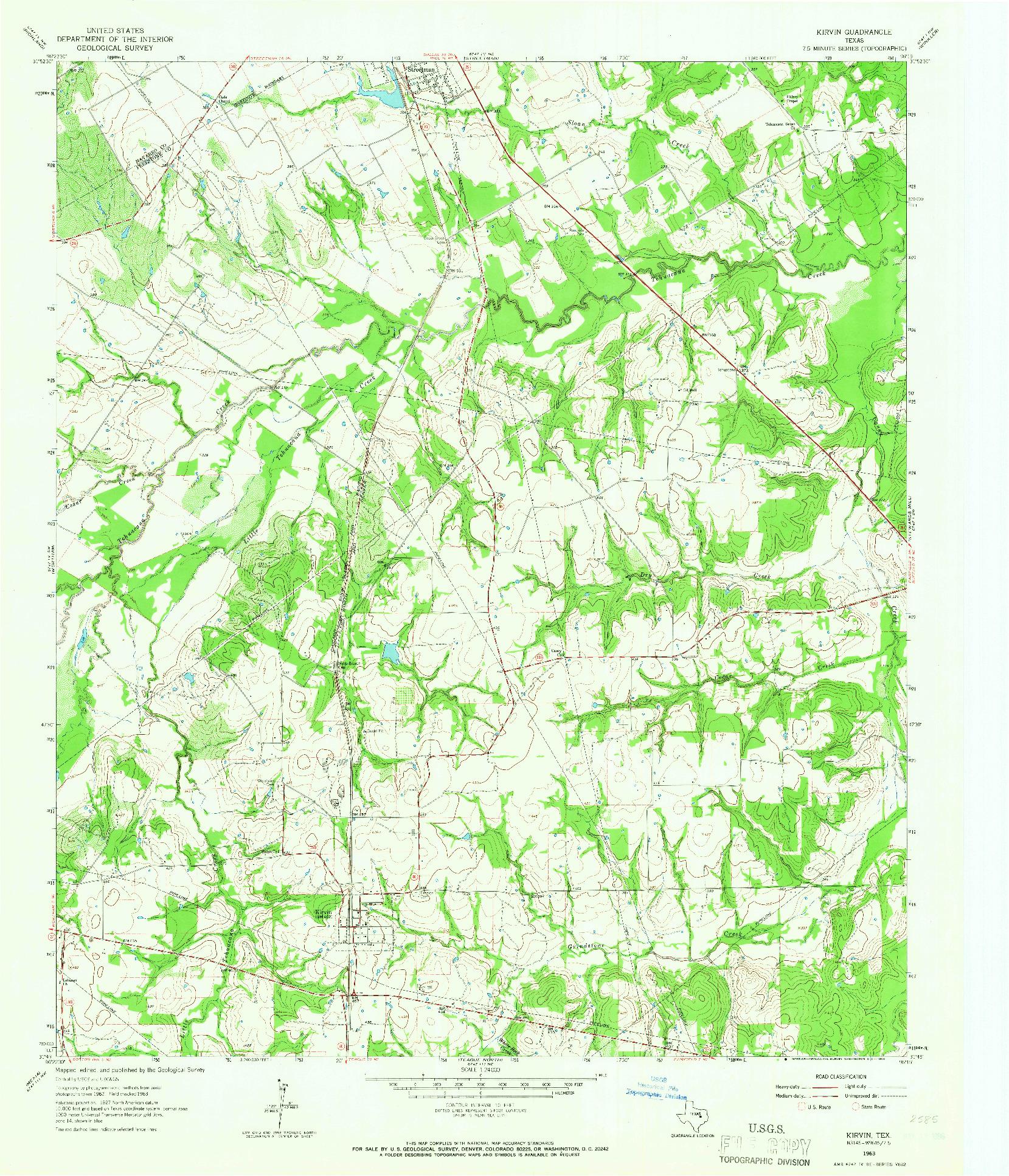 USGS 1:24000-SCALE QUADRANGLE FOR KIRVIN, TX 1963