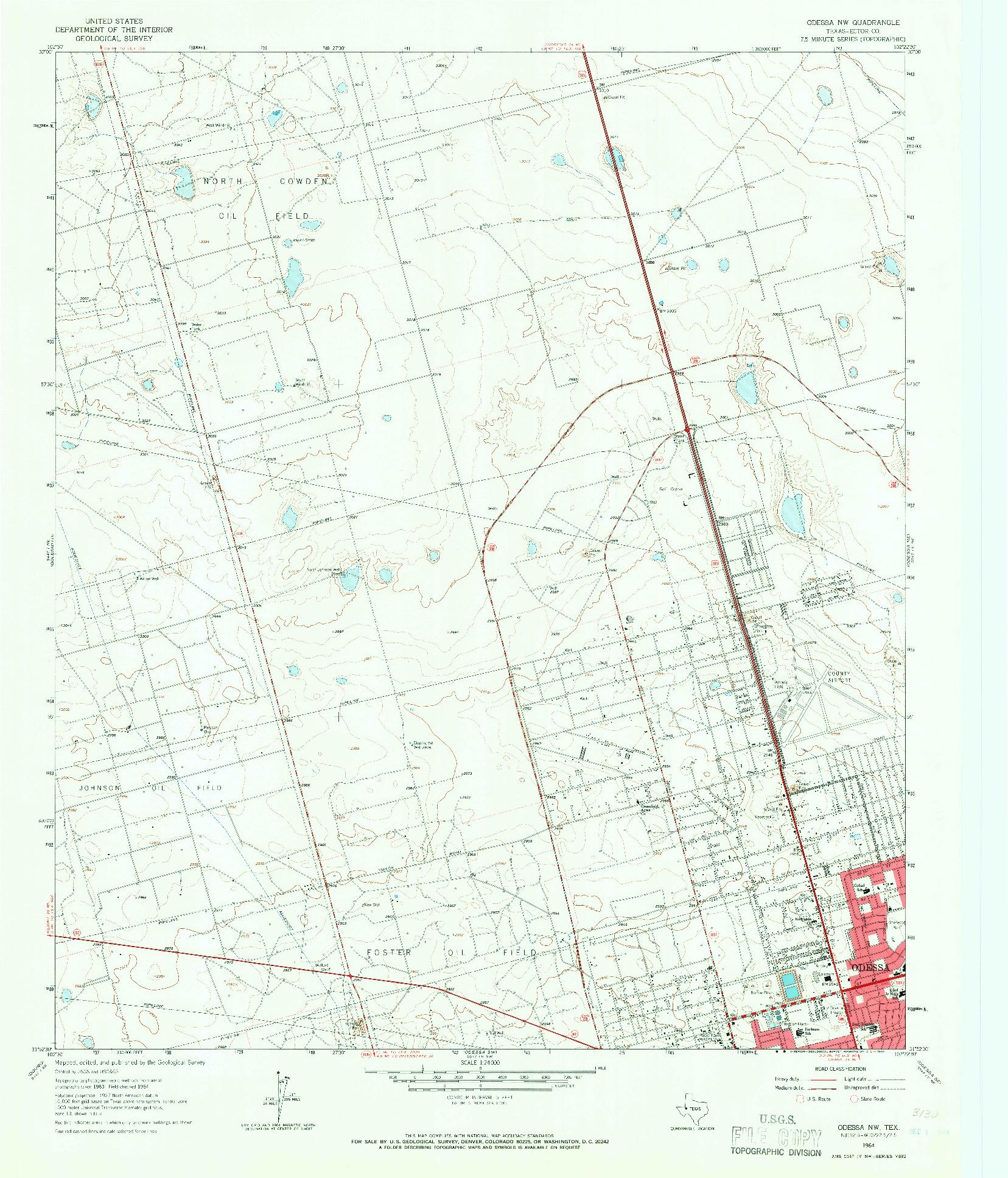 USGS 1:24000-SCALE QUADRANGLE FOR ODESSA NW, TX 1964