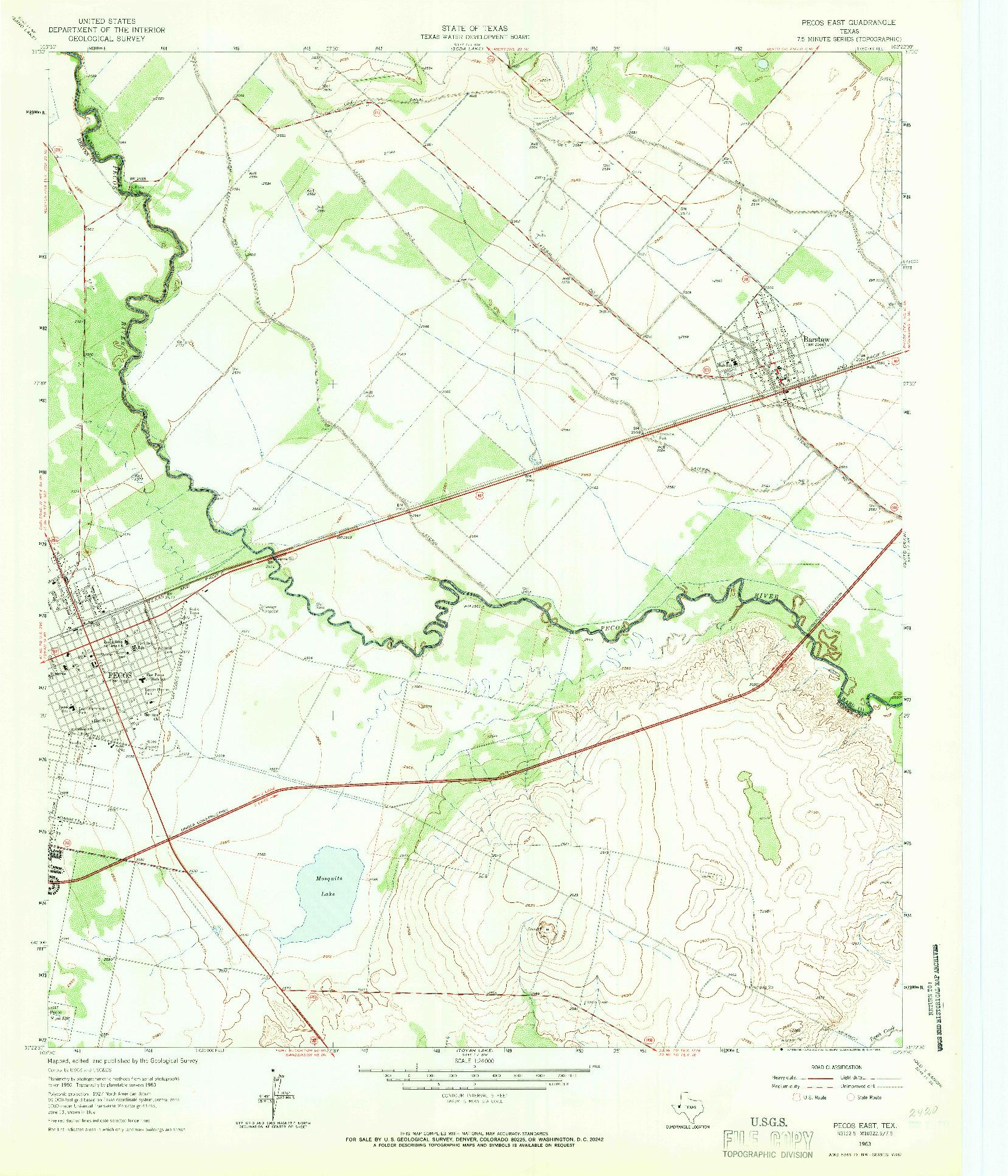 USGS 1:24000-SCALE QUADRANGLE FOR PECOS EAST, TX 1963