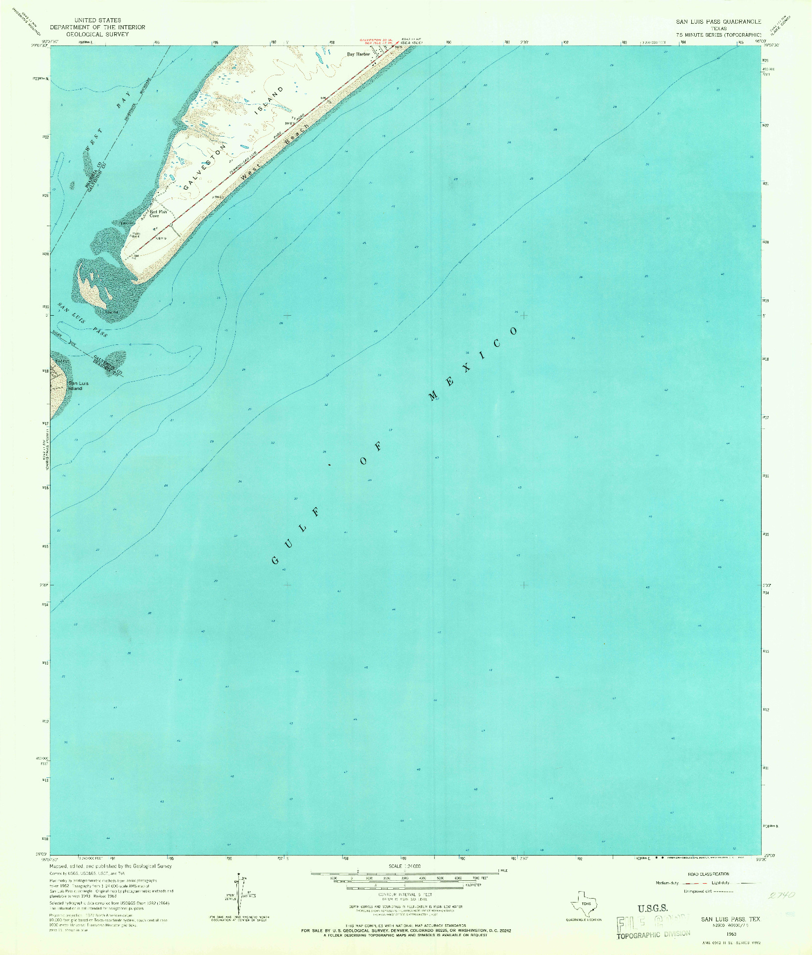 USGS 1:24000-SCALE QUADRANGLE FOR SAN LUIS PASS, TX 1963