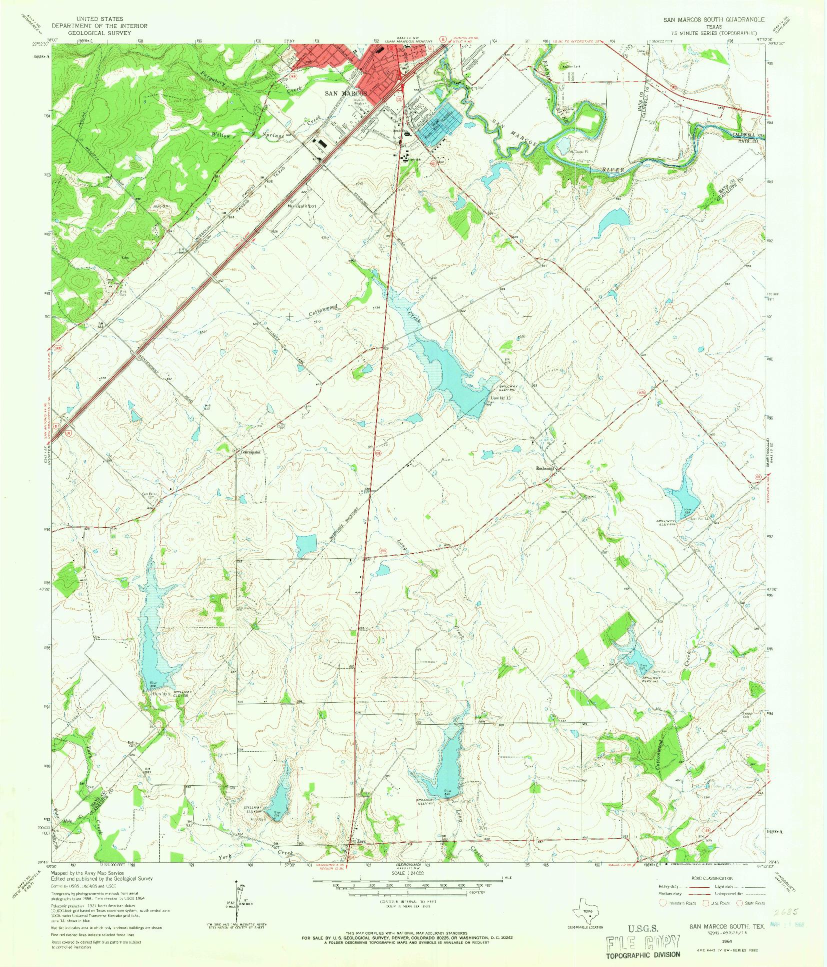 USGS 1:24000-SCALE QUADRANGLE FOR SAN MARCOS SOUTH, TX 1964